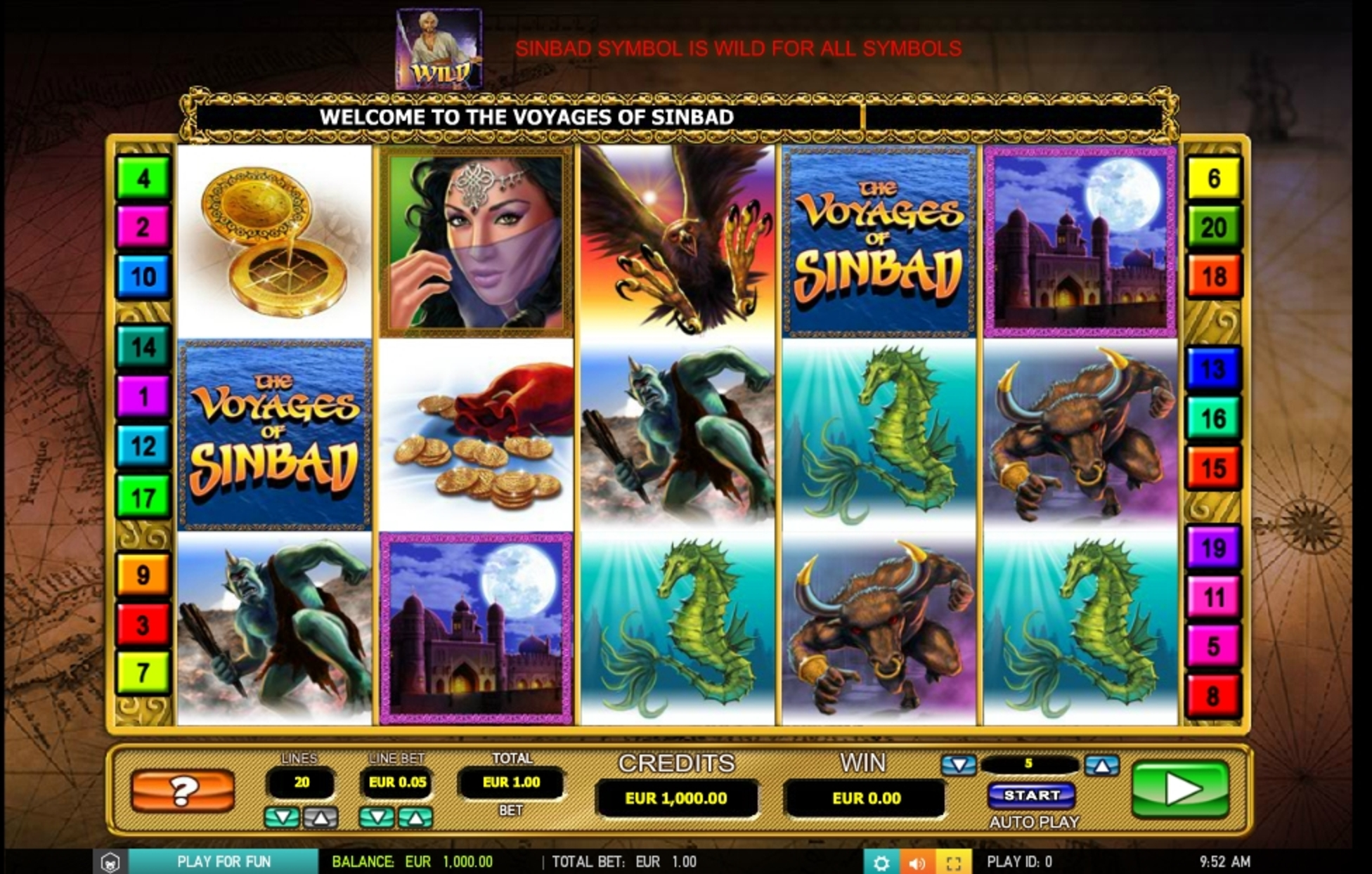Reels in The voyages of Sinbad Slot Game by 2 By 2 Gaming