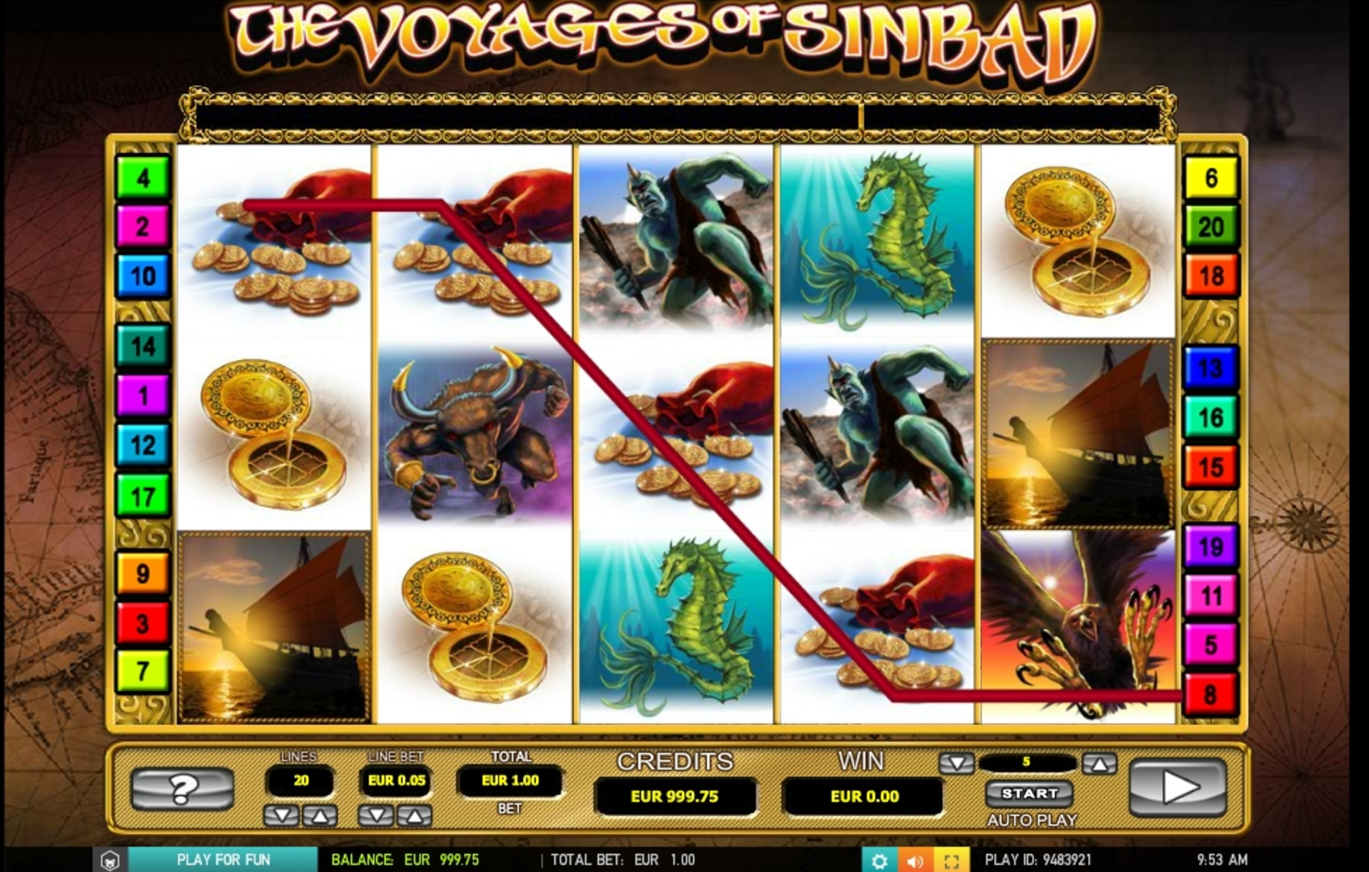 Win Money in The voyages of Sinbad Free Slot Game by 2 By 2 Gaming