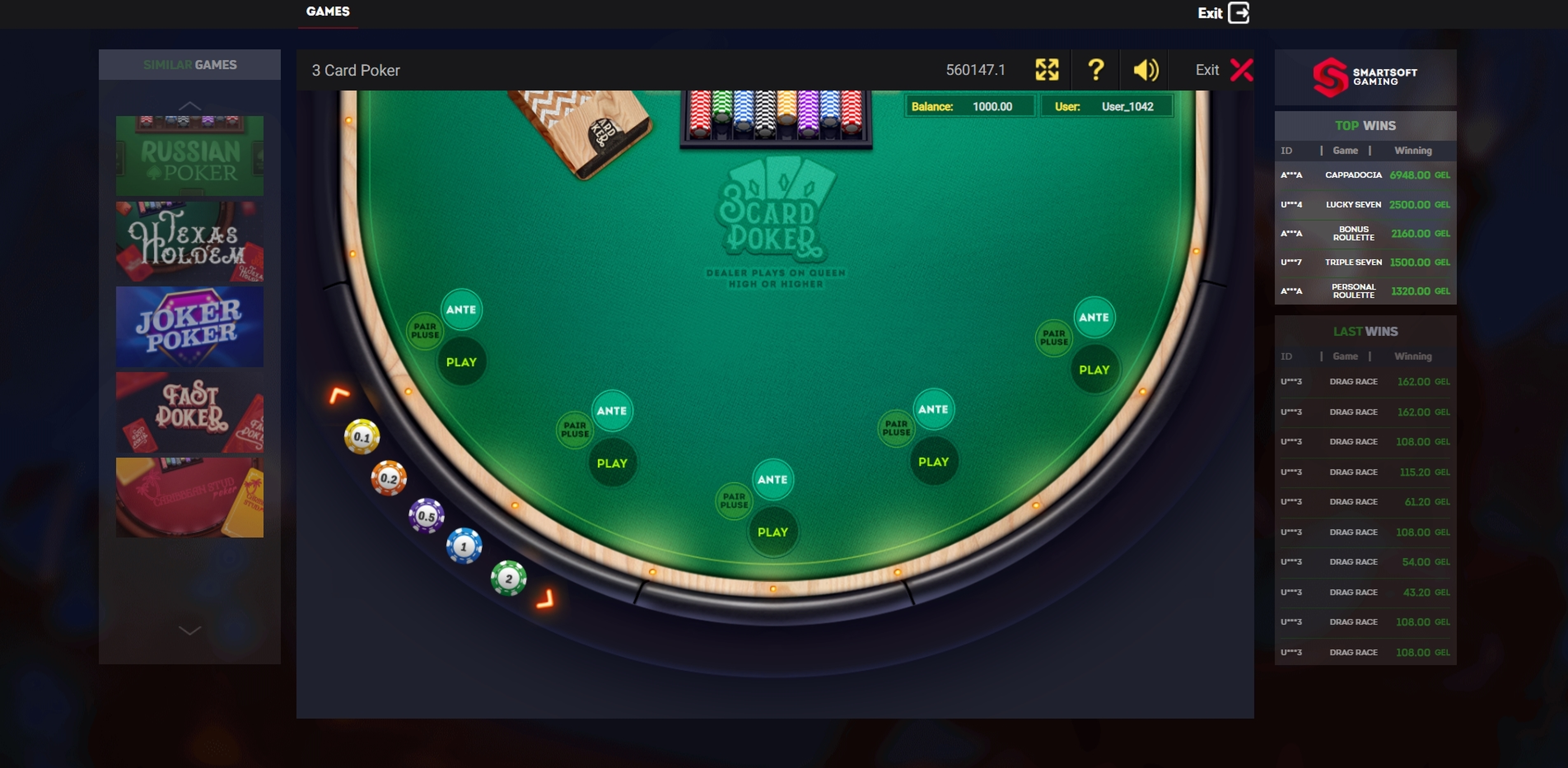 Reels in 3 Card Poker Slot Game by Smartsoft Gaming
