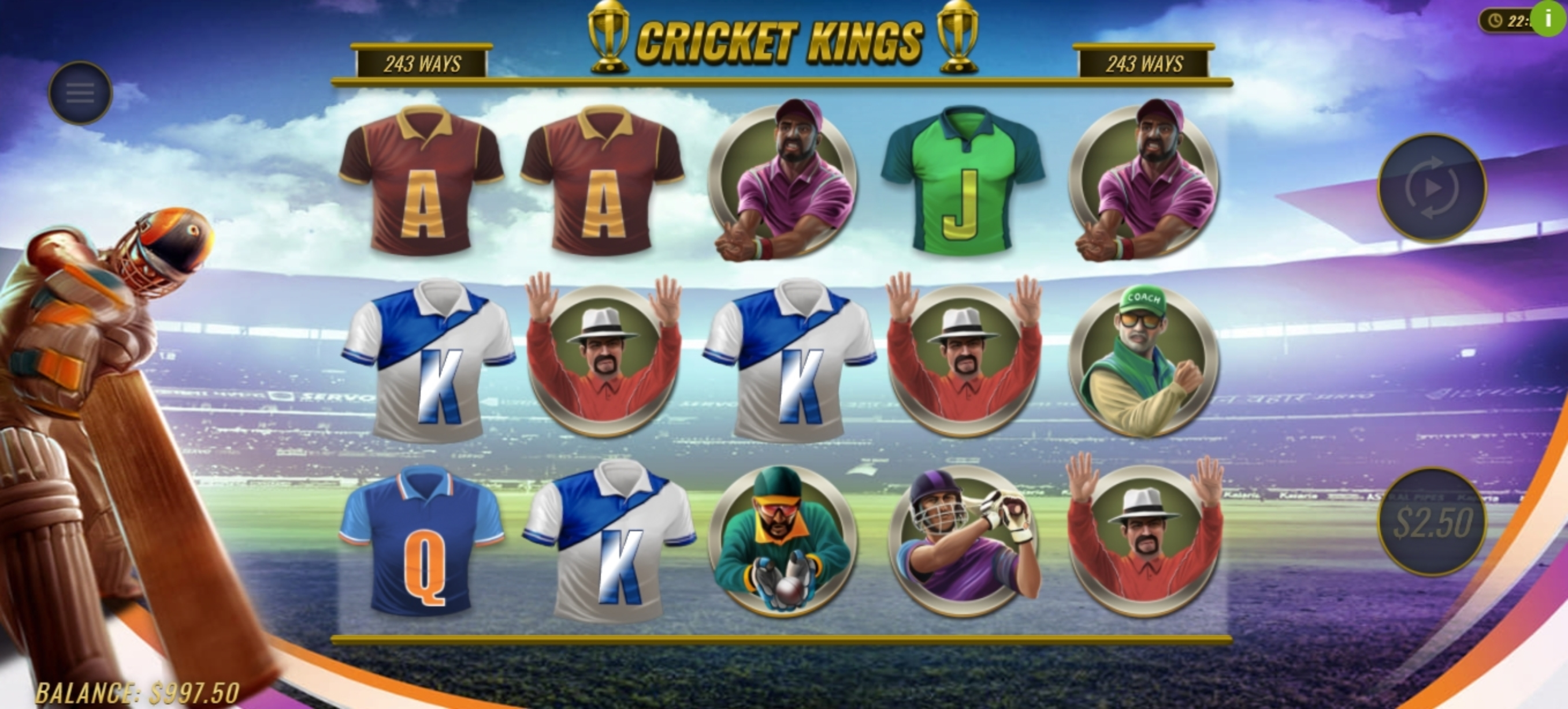 Win Money in Cricket Kings Free Slot Game by Woohoo