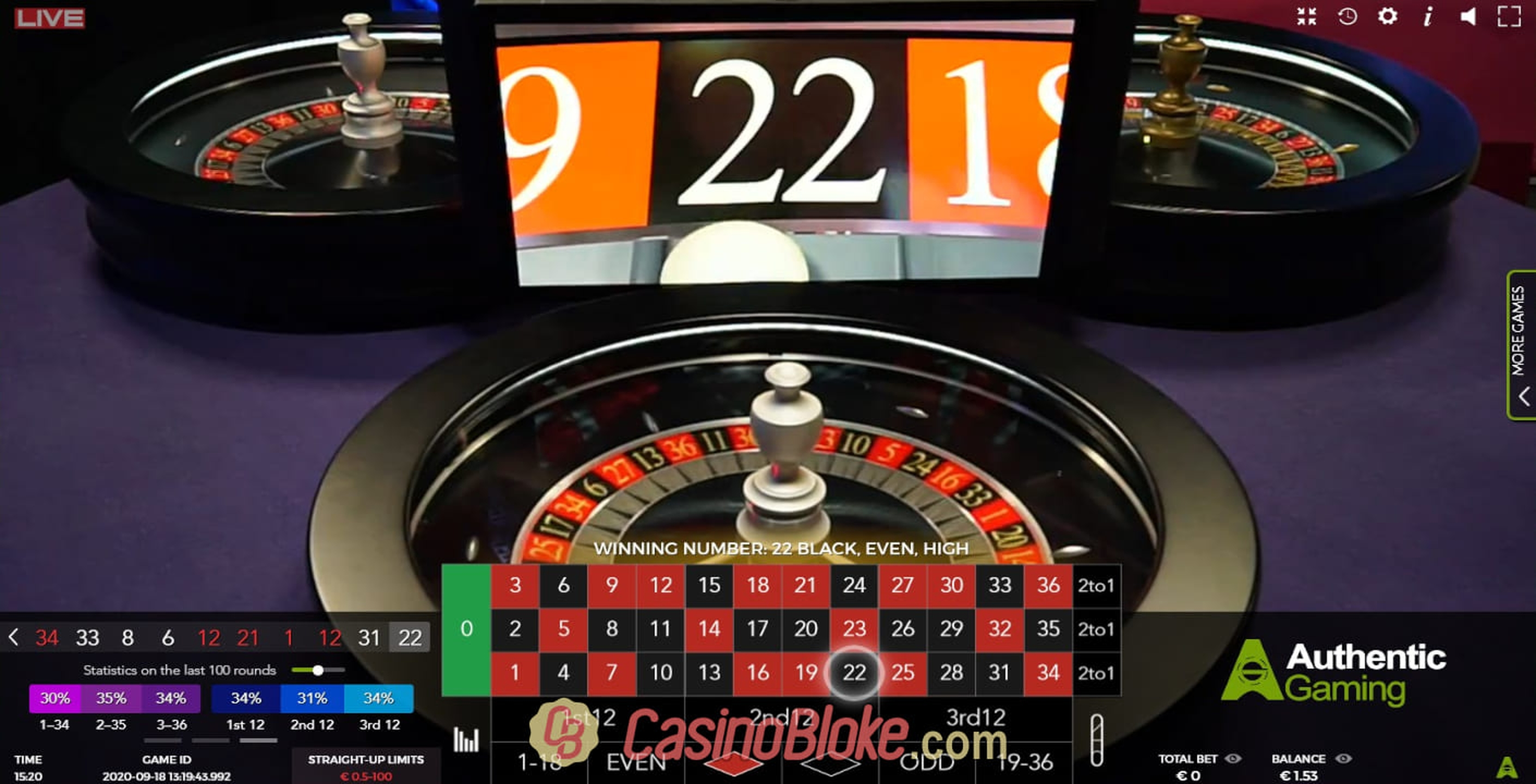The Auto Roulette Speed 1 Live Online Slot Demo Game by Authentic Gaming