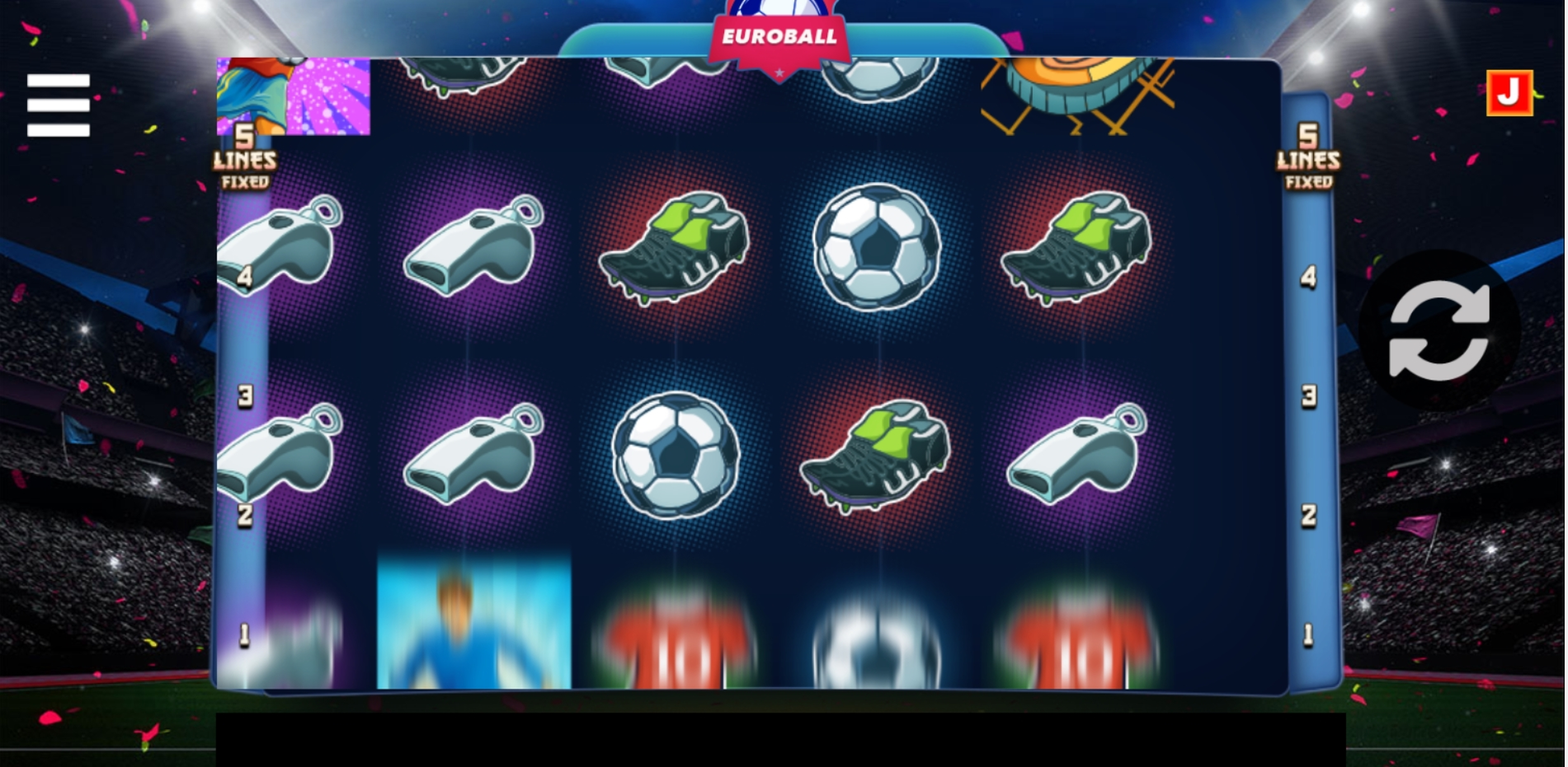 Reels in Euroball Slot Game by Betsense