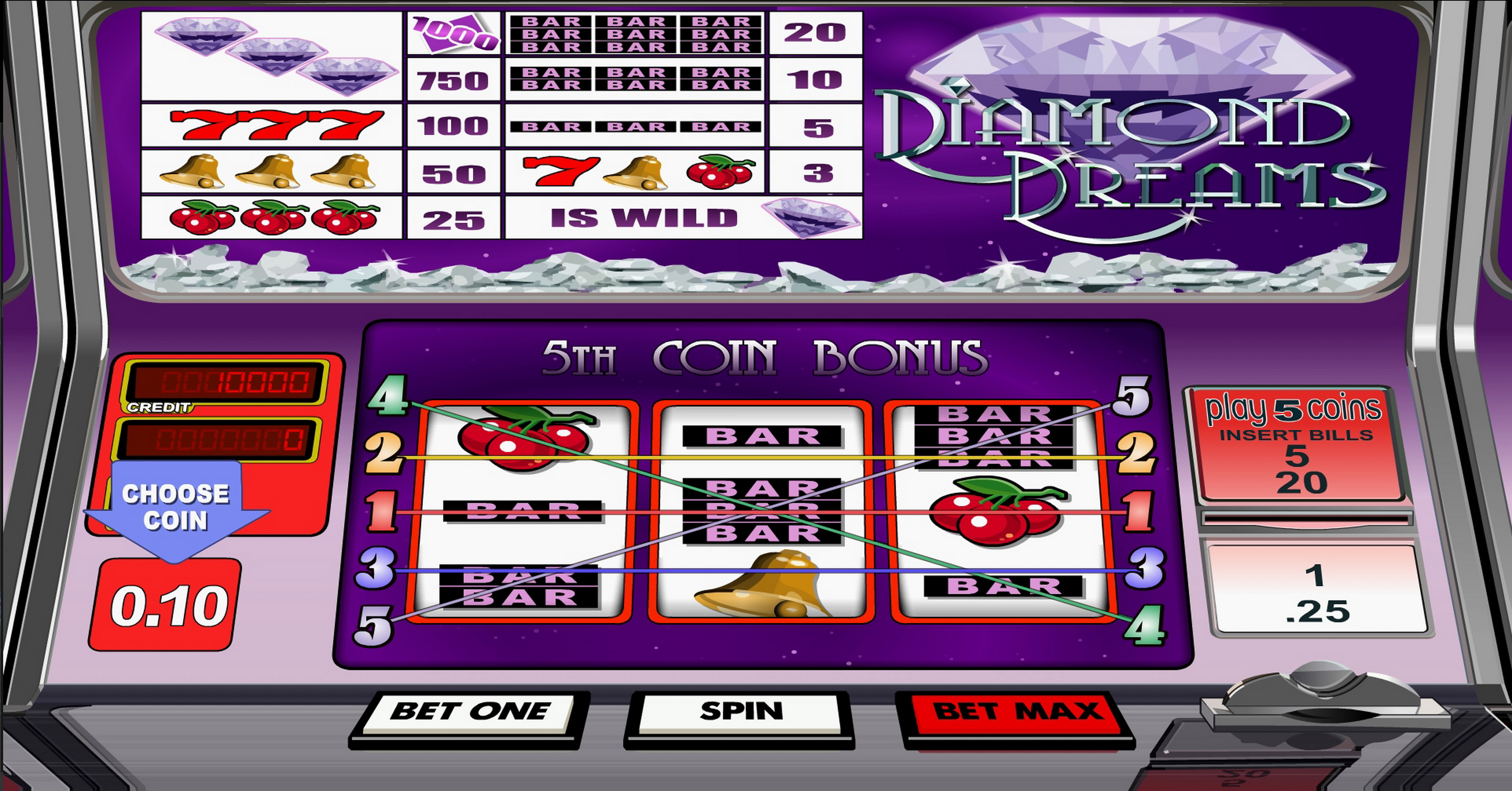 Reels in Diamond Dreams Slot Game by Betsoft