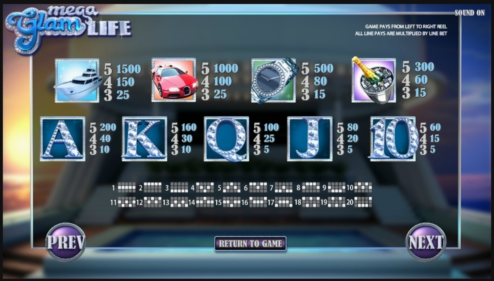 Info of Mega Glam Life Slot Game by Betsoft