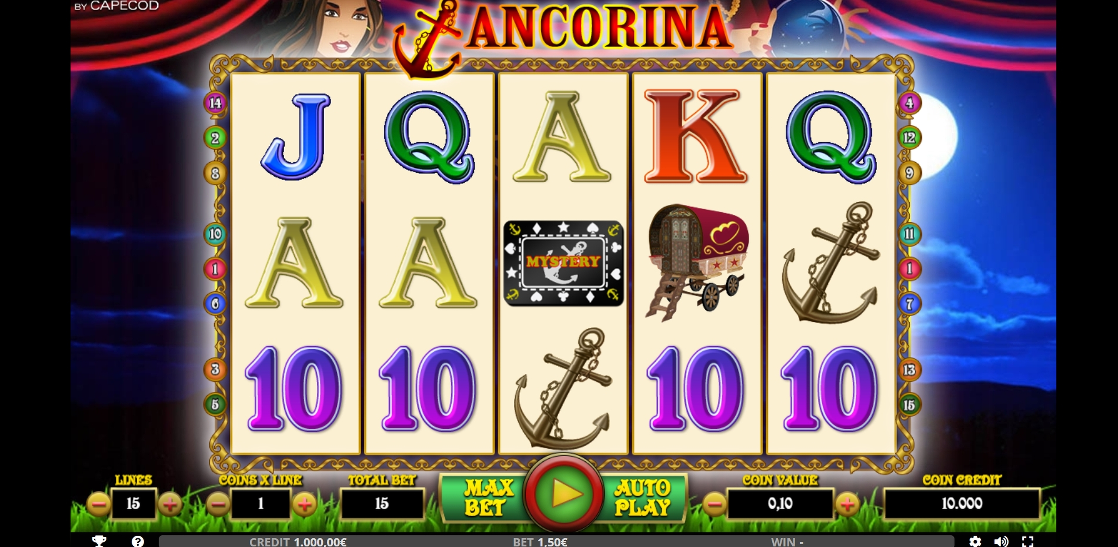 Reels in ANCORINA Slot Game by Capecod Gaming