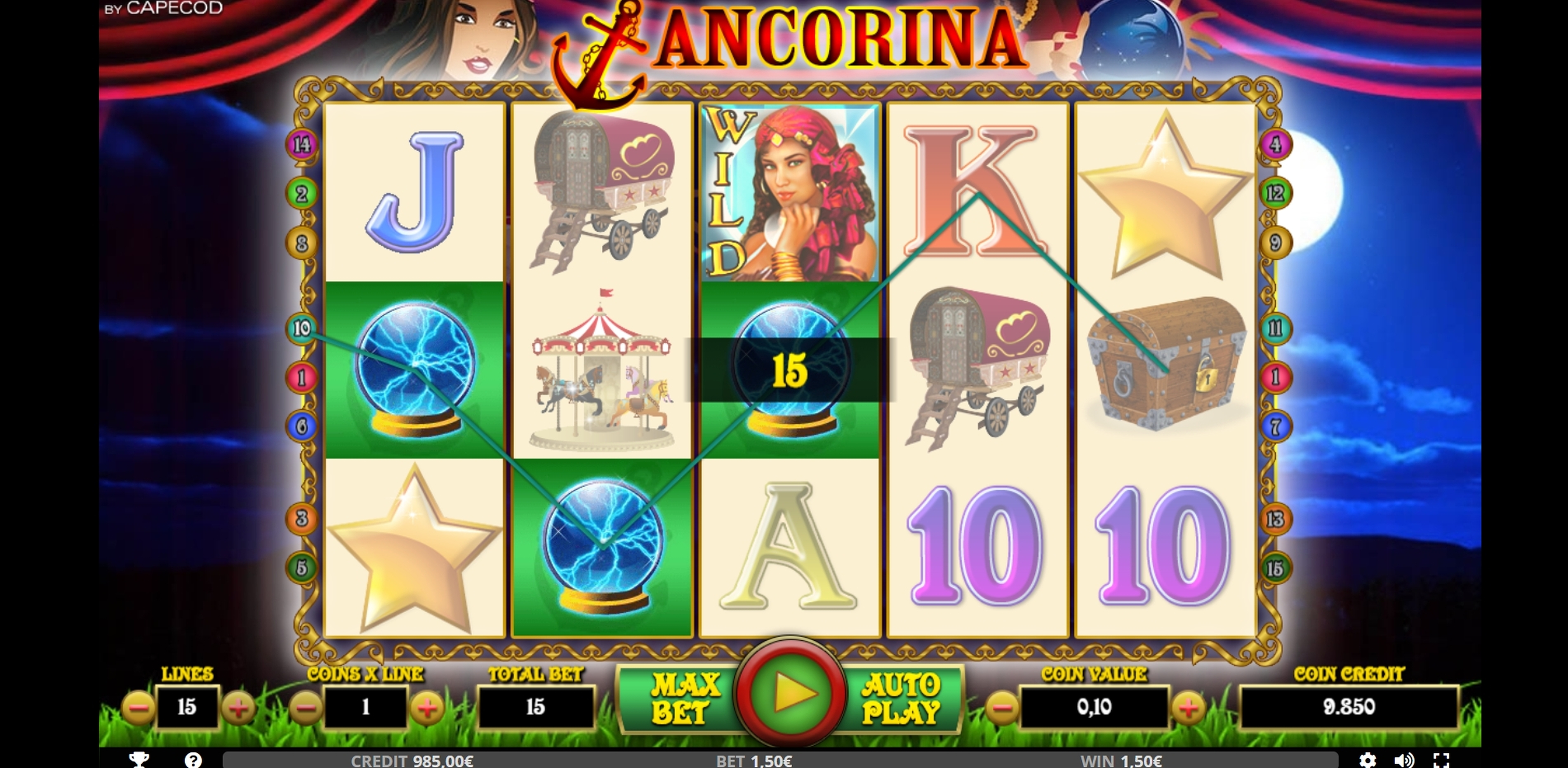 Win Money in ANCORINA Free Slot Game by Capecod Gaming