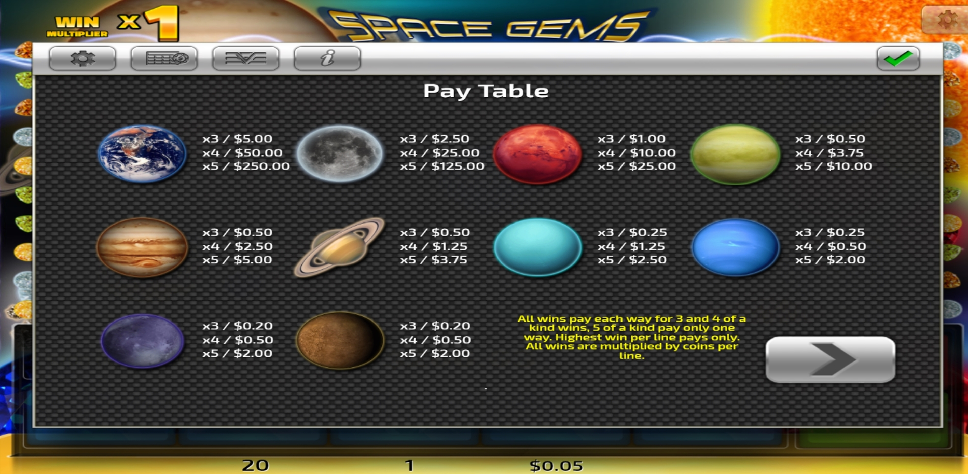 Info of Space Gems (Concept Gaming) Slot Game by Concept Gaming