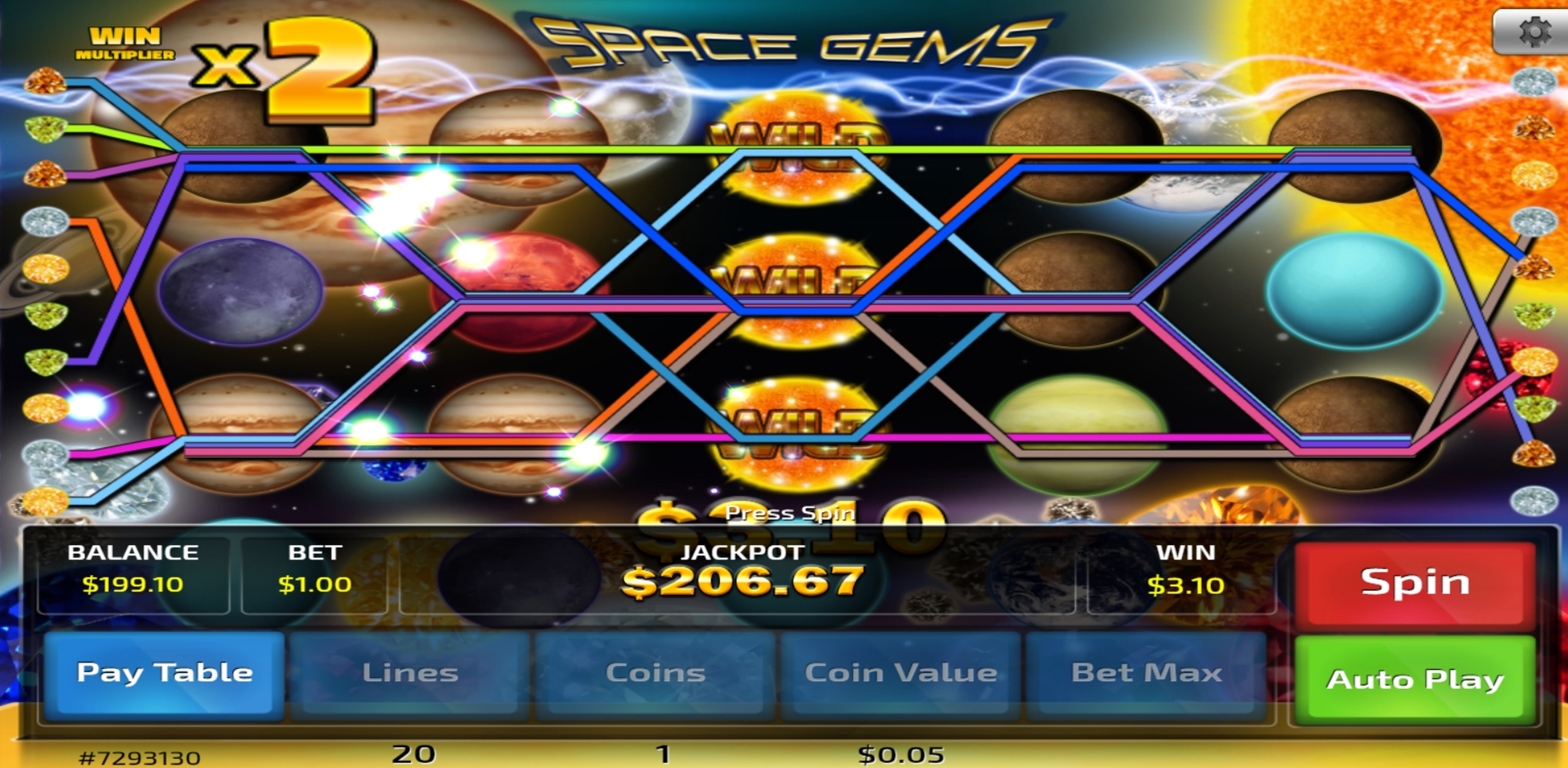 Win Money in Space Gems (Concept Gaming) Free Slot Game by Concept Gaming