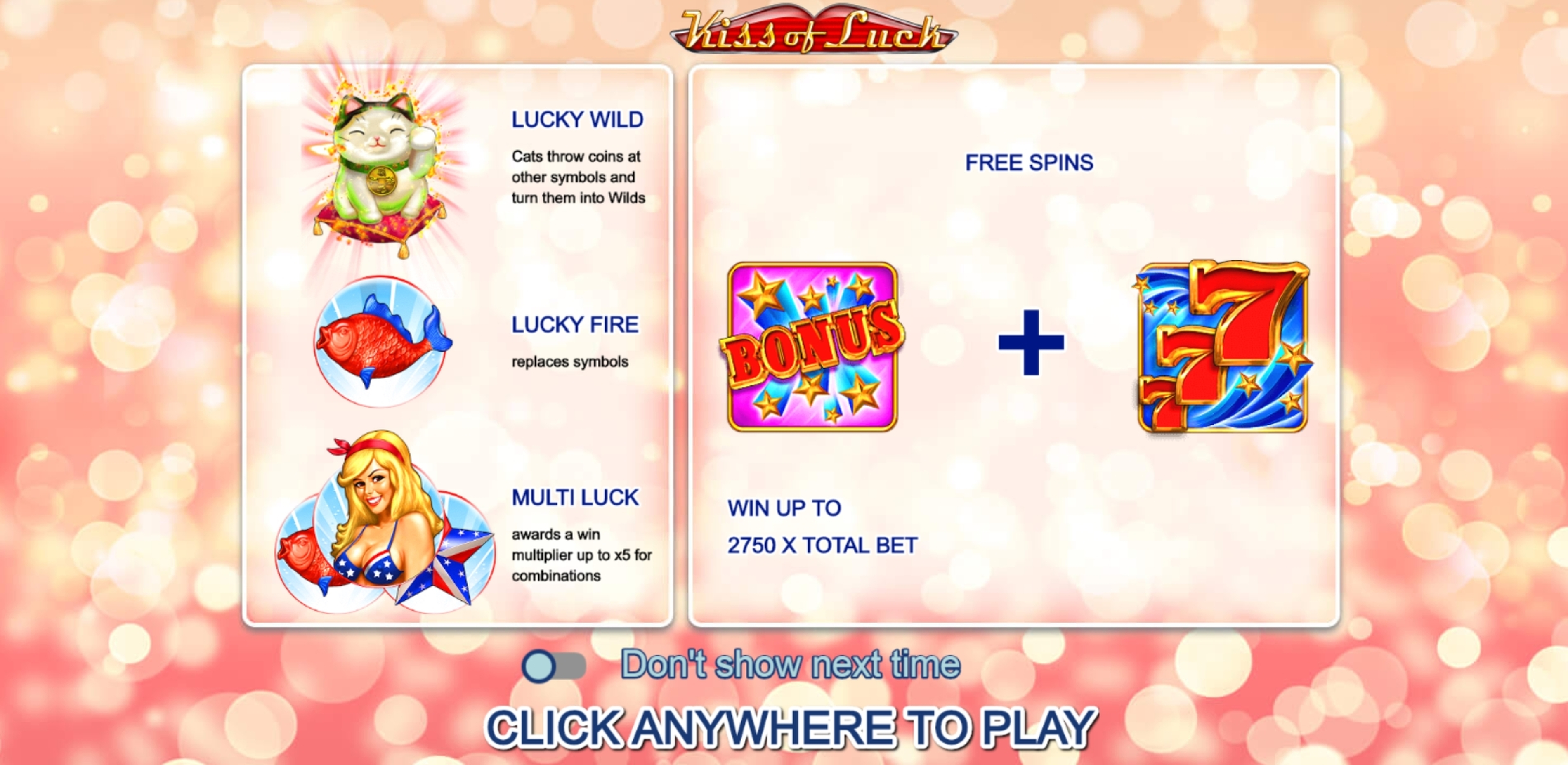 Play Kiss of Luck Free Casino Slot Game by FUGA Gaming