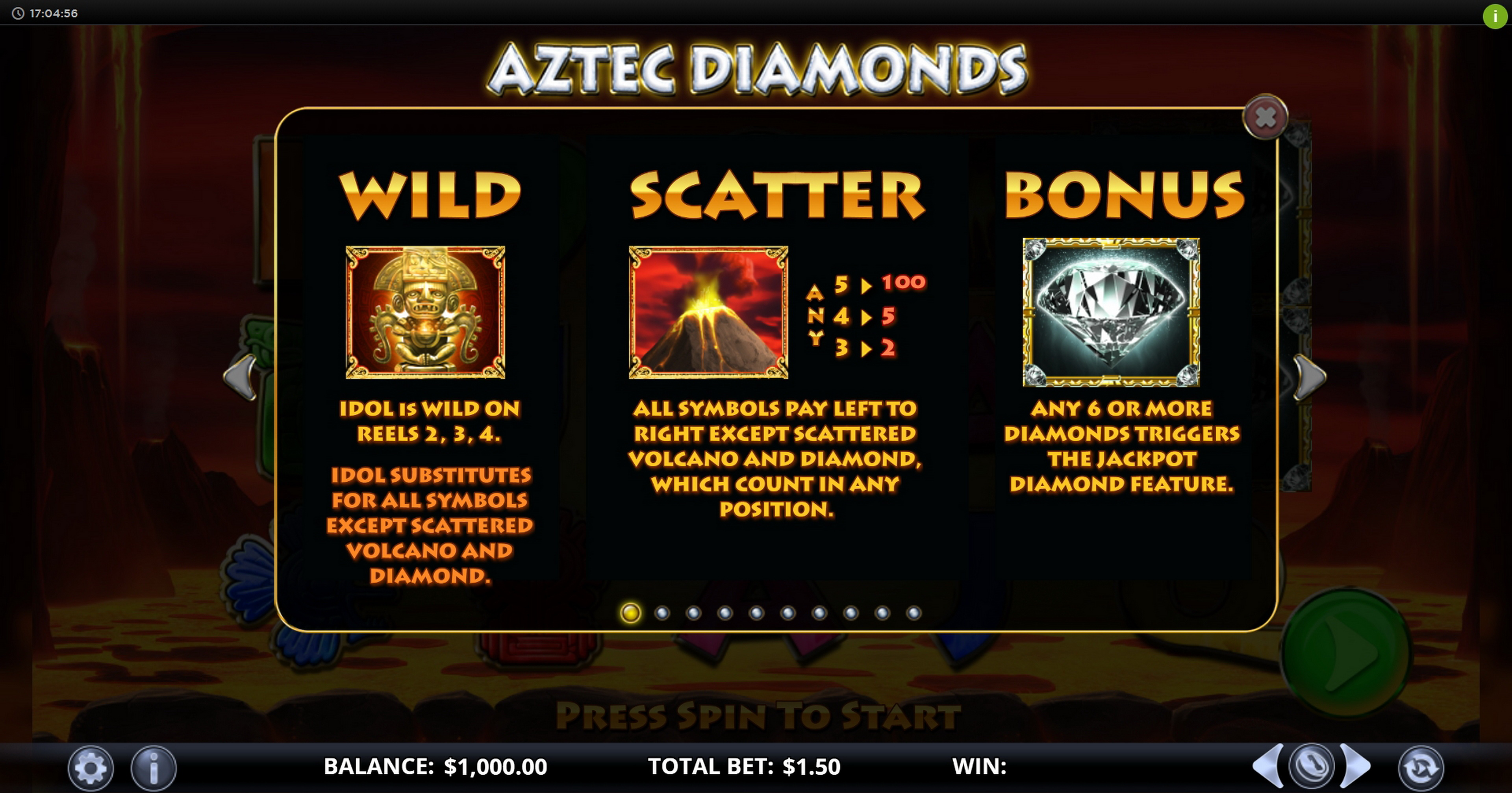 Info of Aztec Diamonds Slot Game by Games Lab