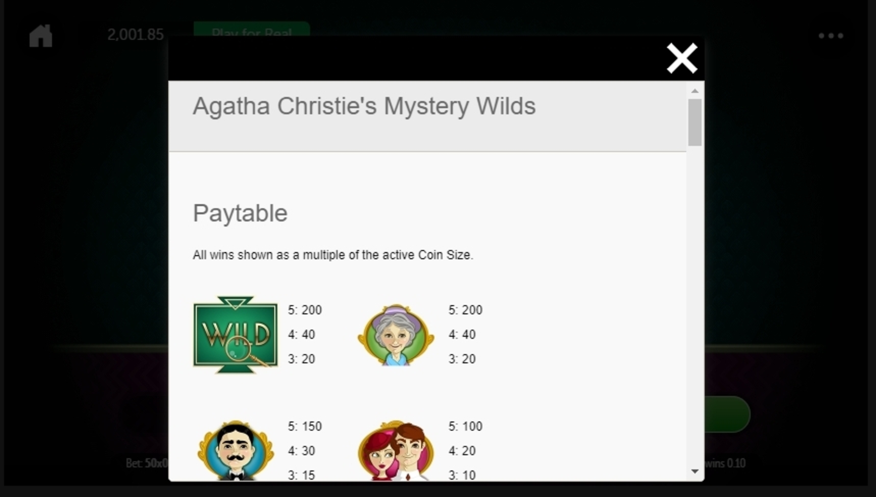 Info of Agatha Christie's Mystery Wilds Slot Game by Gamesys