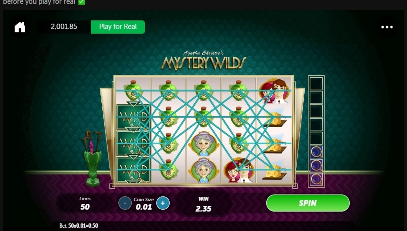 Win Money in Agatha Christie's Mystery Wilds Free Slot Game by Gamesys