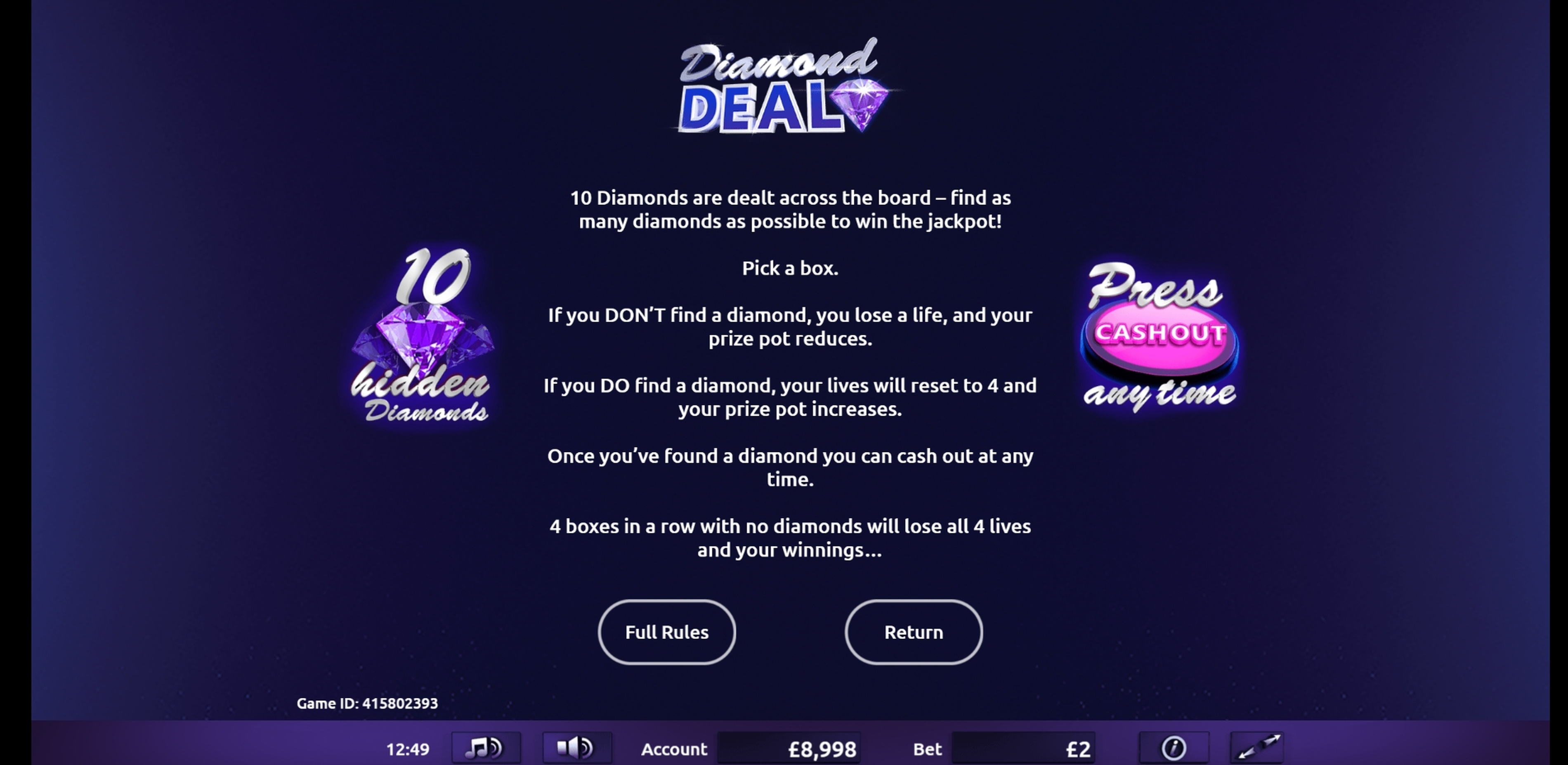 Info of Diamond Deal Slot Game by Gamevy