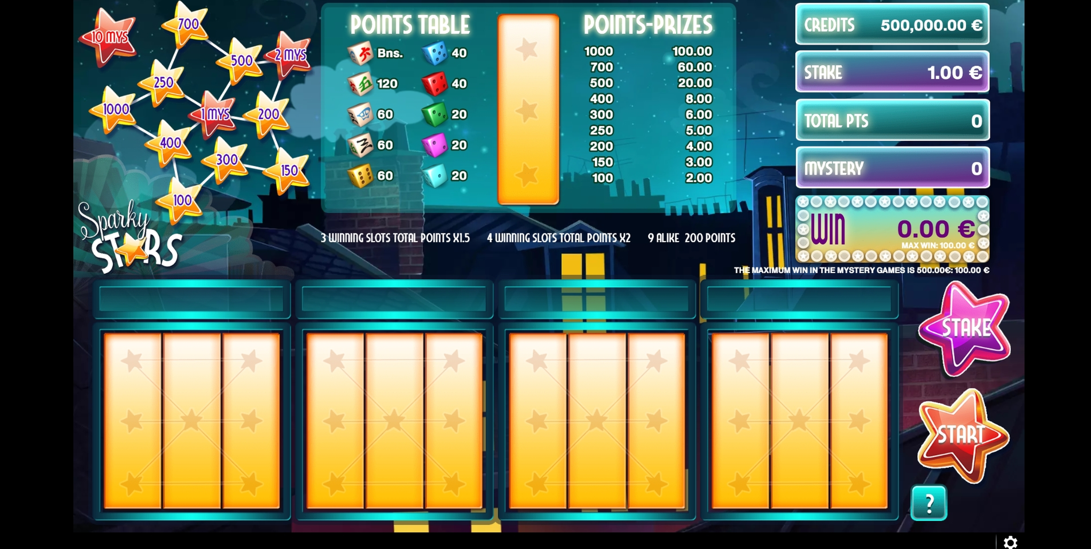 Reels in Sparky Stars Dice Slot Game by GAMING1