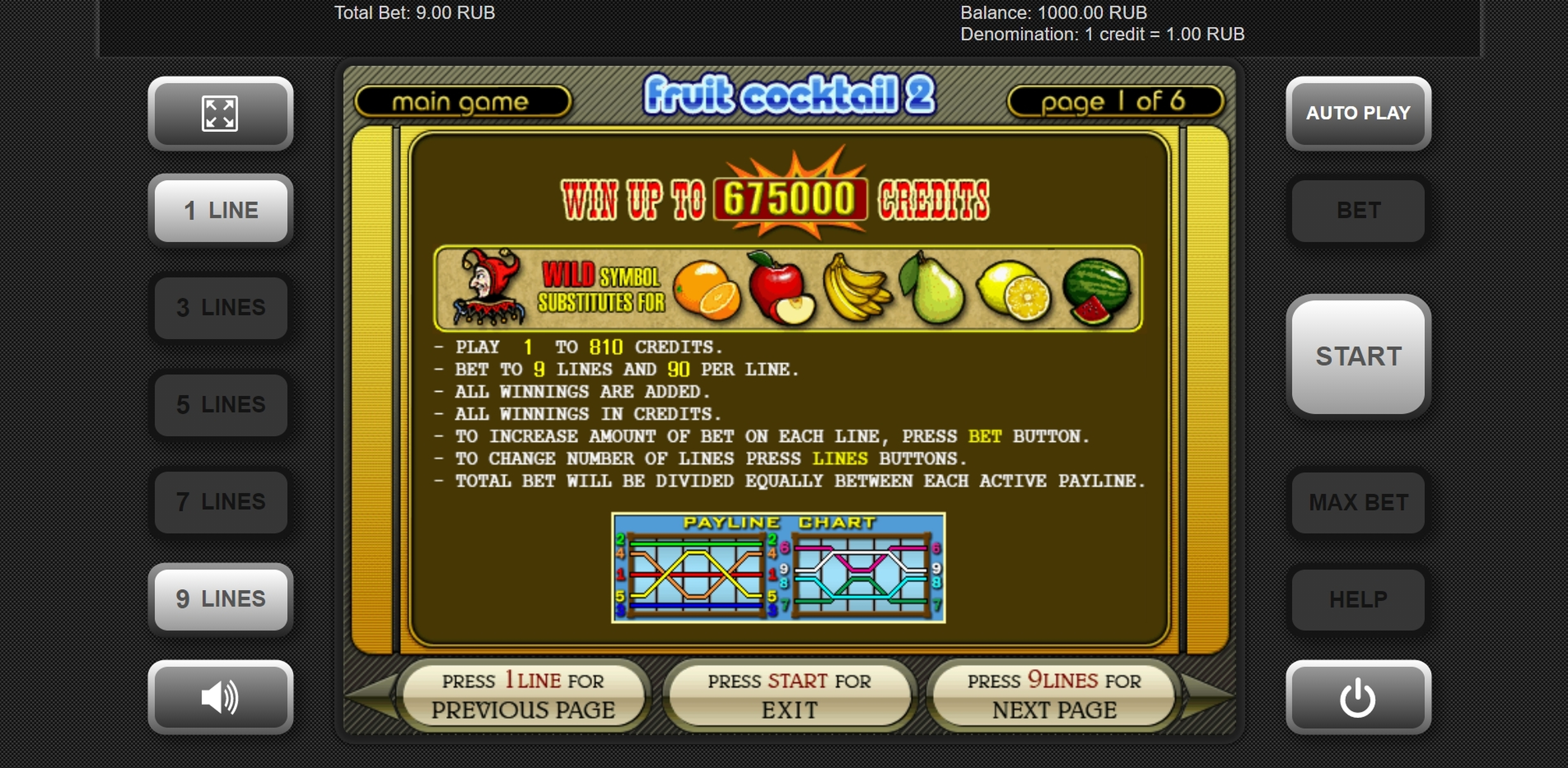 Info of Fruit Cocktail 2 Slot Game by Igrosoft