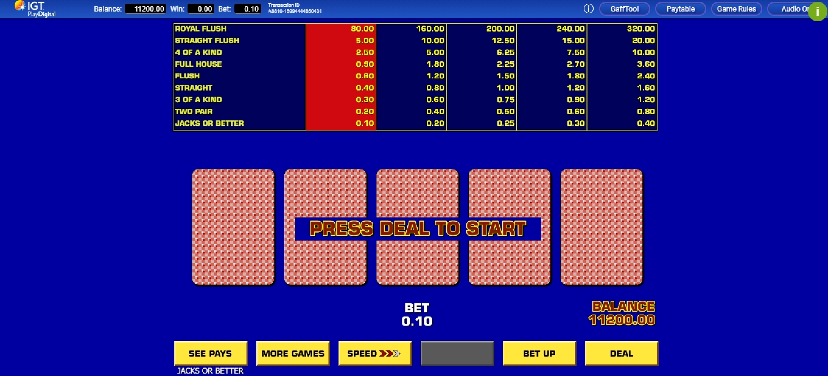Reels in Game King Video Poker Slot Game by IGT