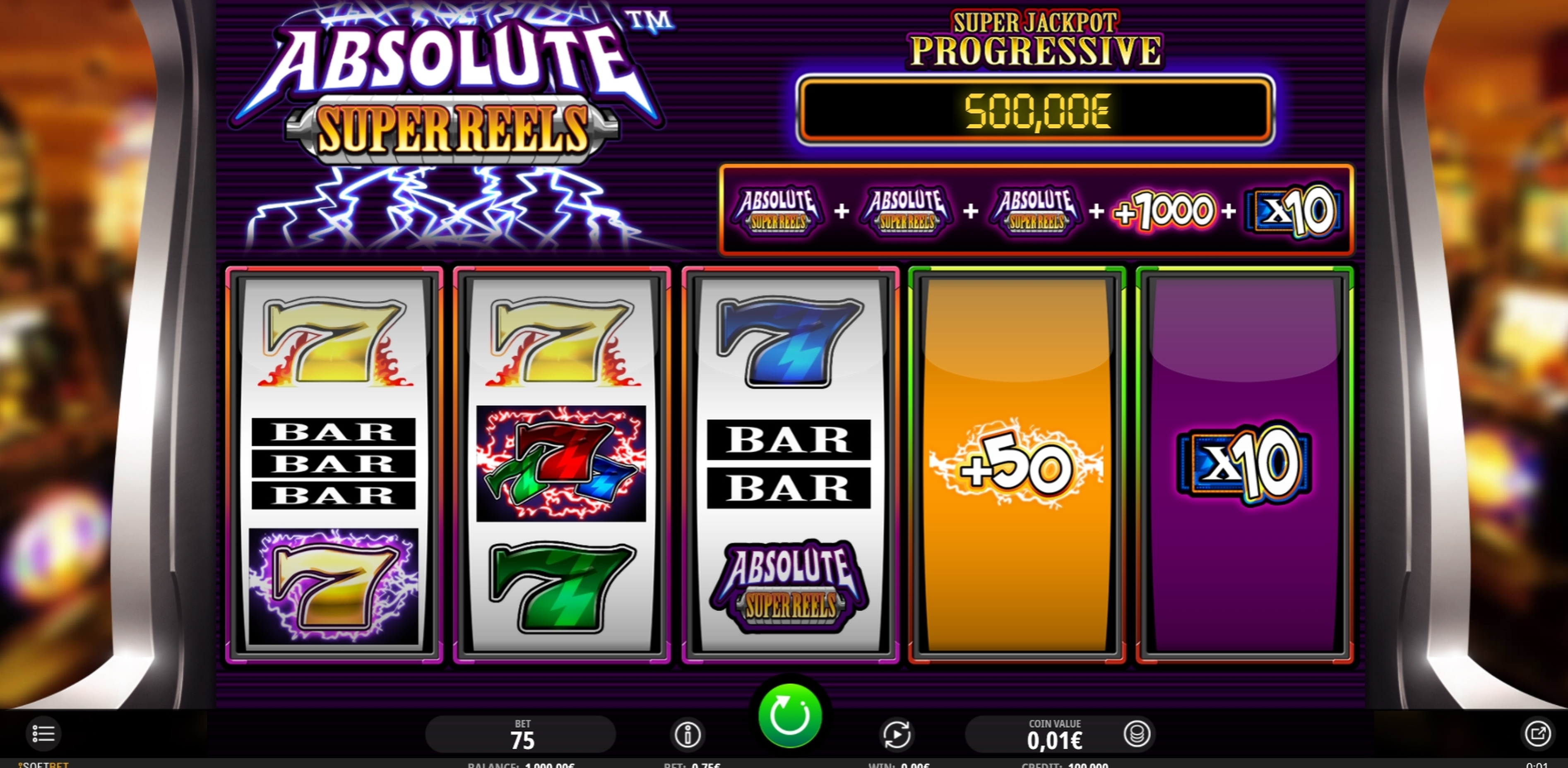 Reels in Super Multitimes Progressive Slot Game by iSoftBet