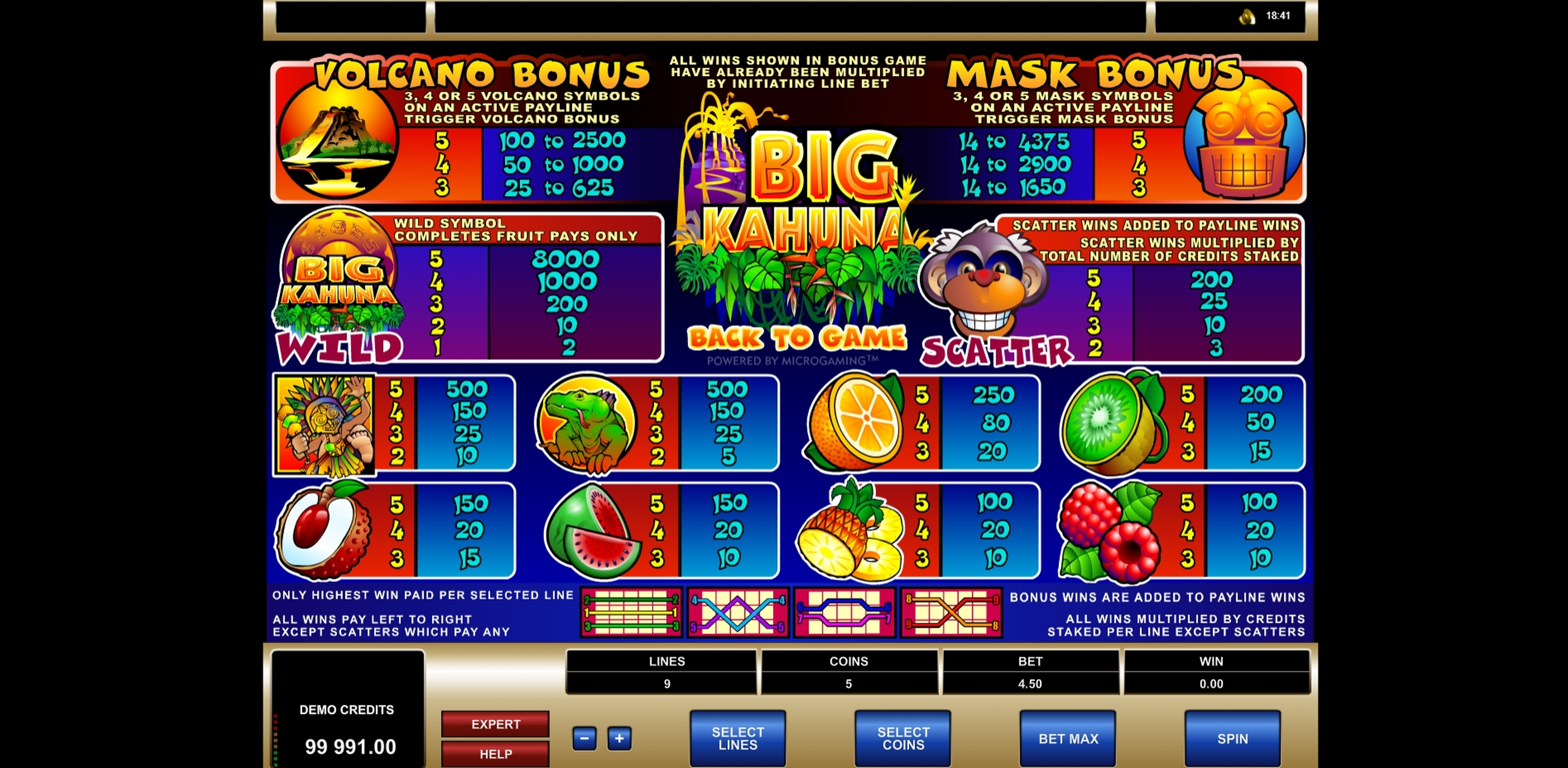 Info of Big Kahuna Slot Game by Microgaming