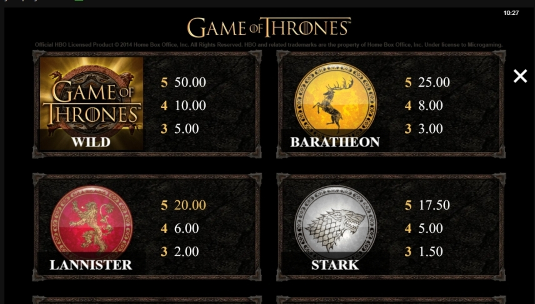 Info of Game of Thrones 243 Ways Slot Game by Microgaming