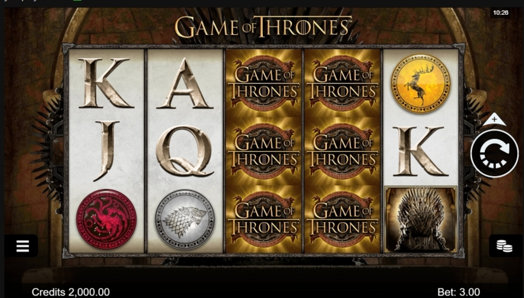 Reels in Game of Thrones 243 Ways Slot Game by Microgaming