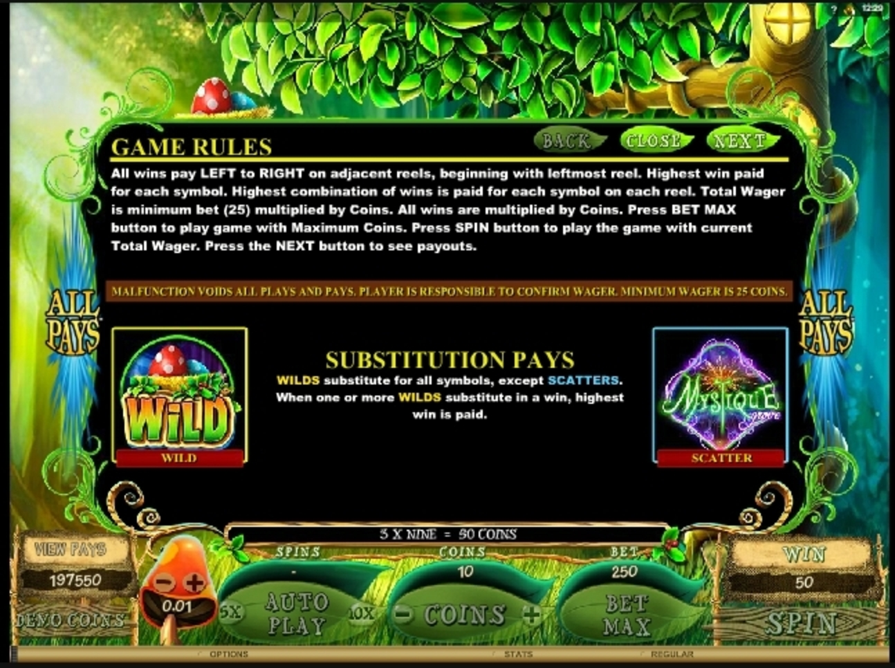 Info of Mystique Grove Slot Game by Microgaming