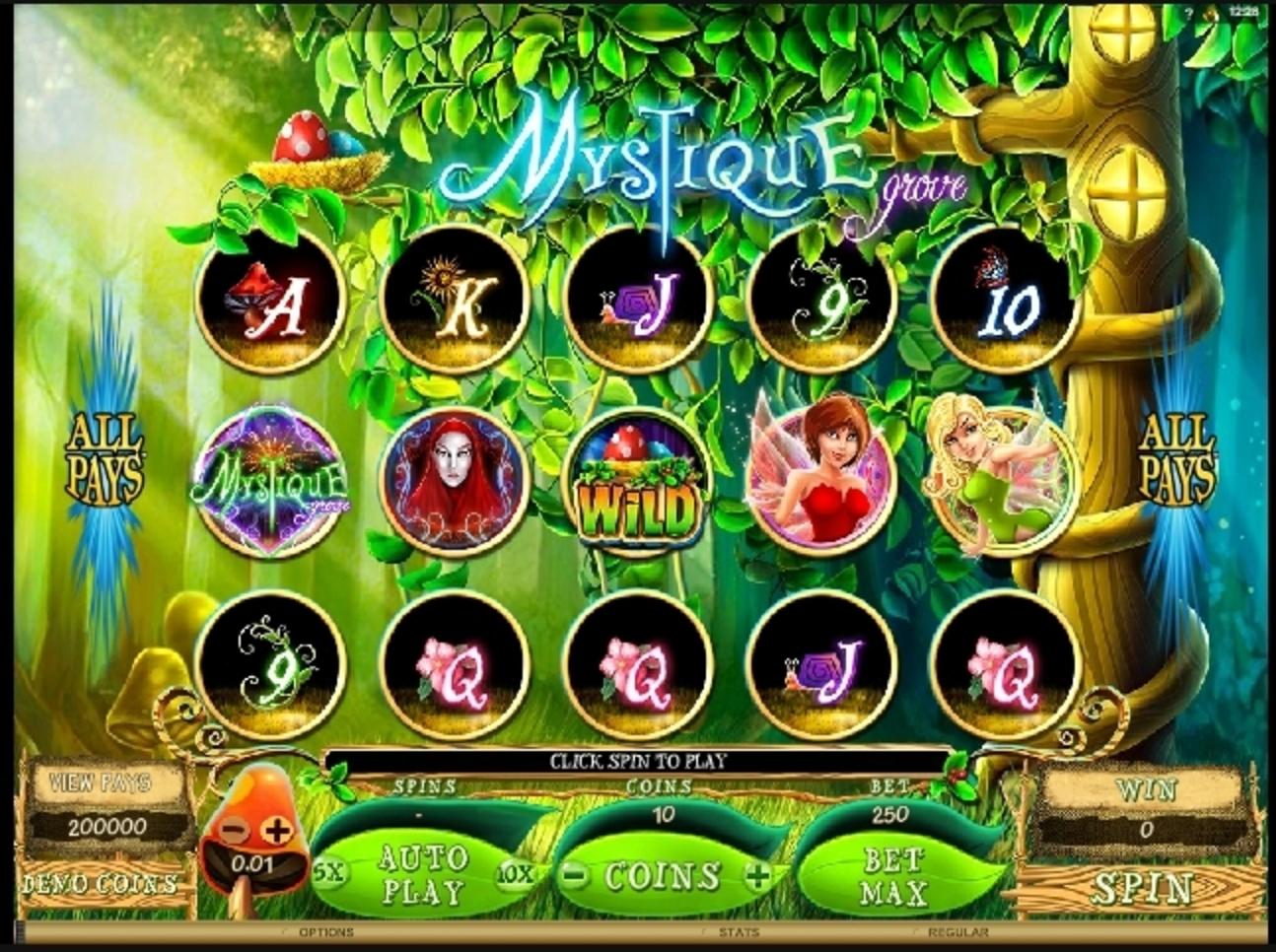 Reels in Mystique Grove Slot Game by Microgaming