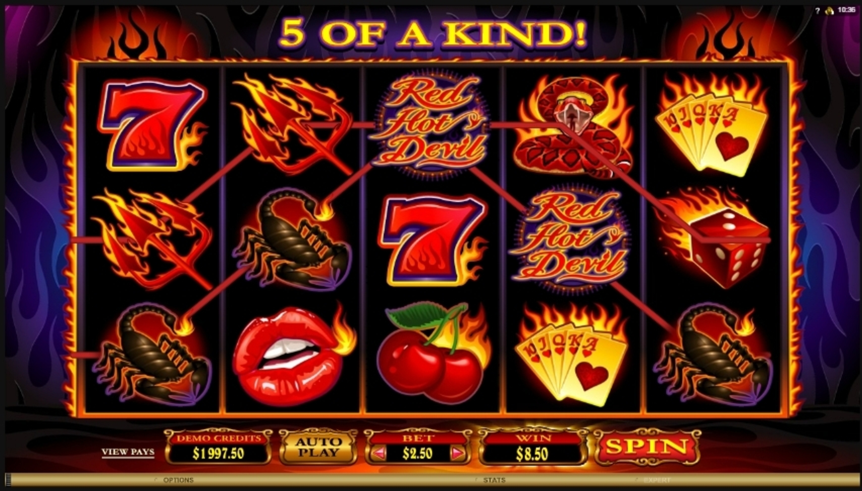 Win Money in Red Hot Devil Free Slot Game by Microgaming