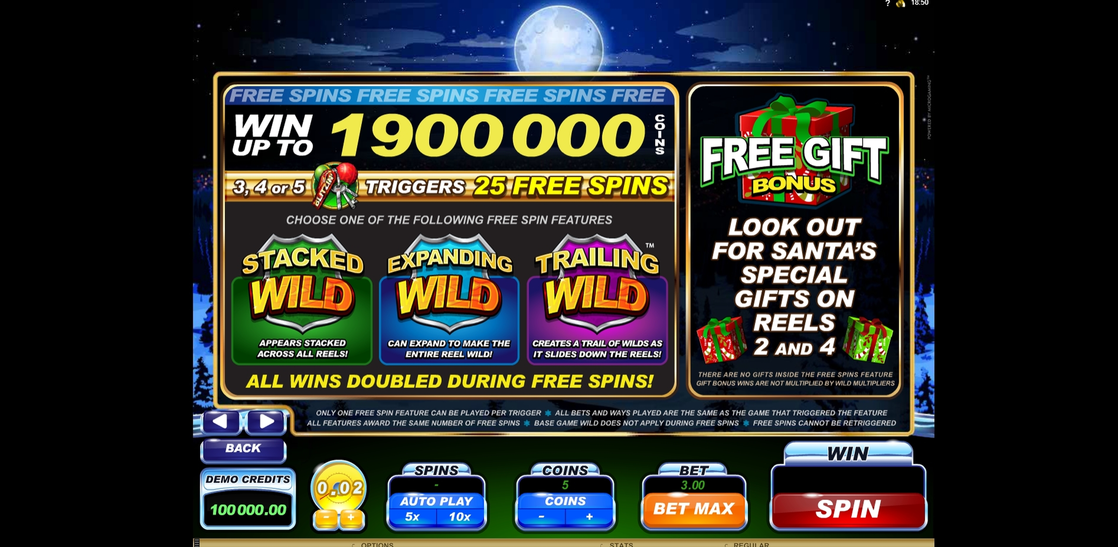 Info of Santa's Wild Ride Slot Game by Microgaming