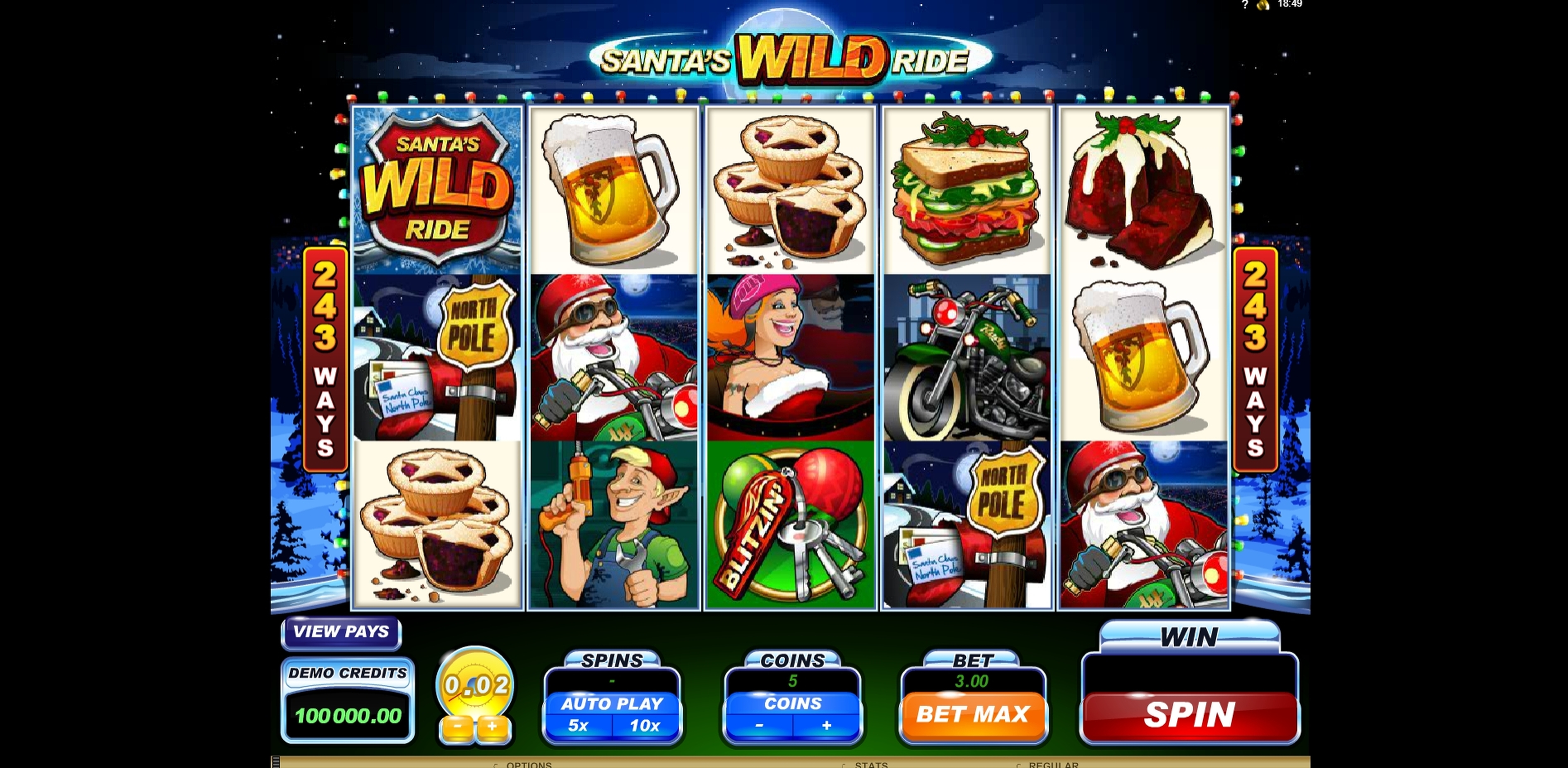 Reels in Santa's Wild Ride Slot Game by Microgaming