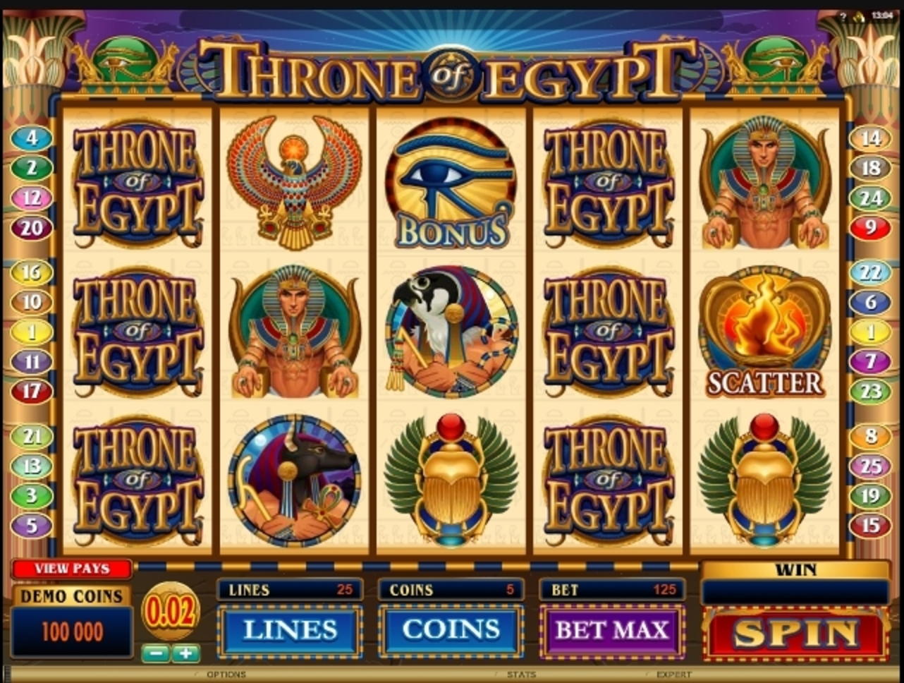 Reels in Throne of Egypt Slot Game by Microgaming