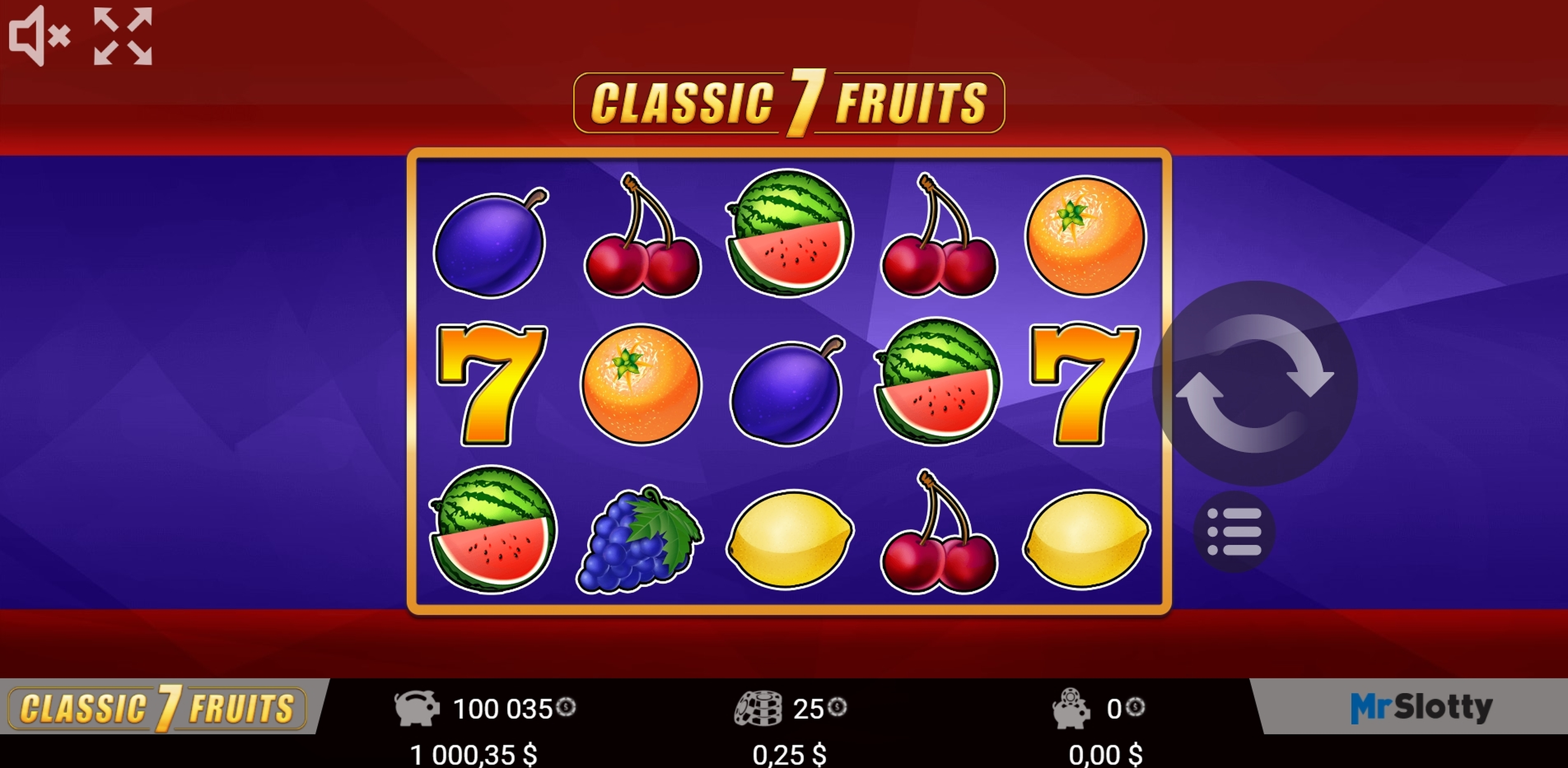 Reels in Classic 7 Fruits Slot Game by Mr Slotty
