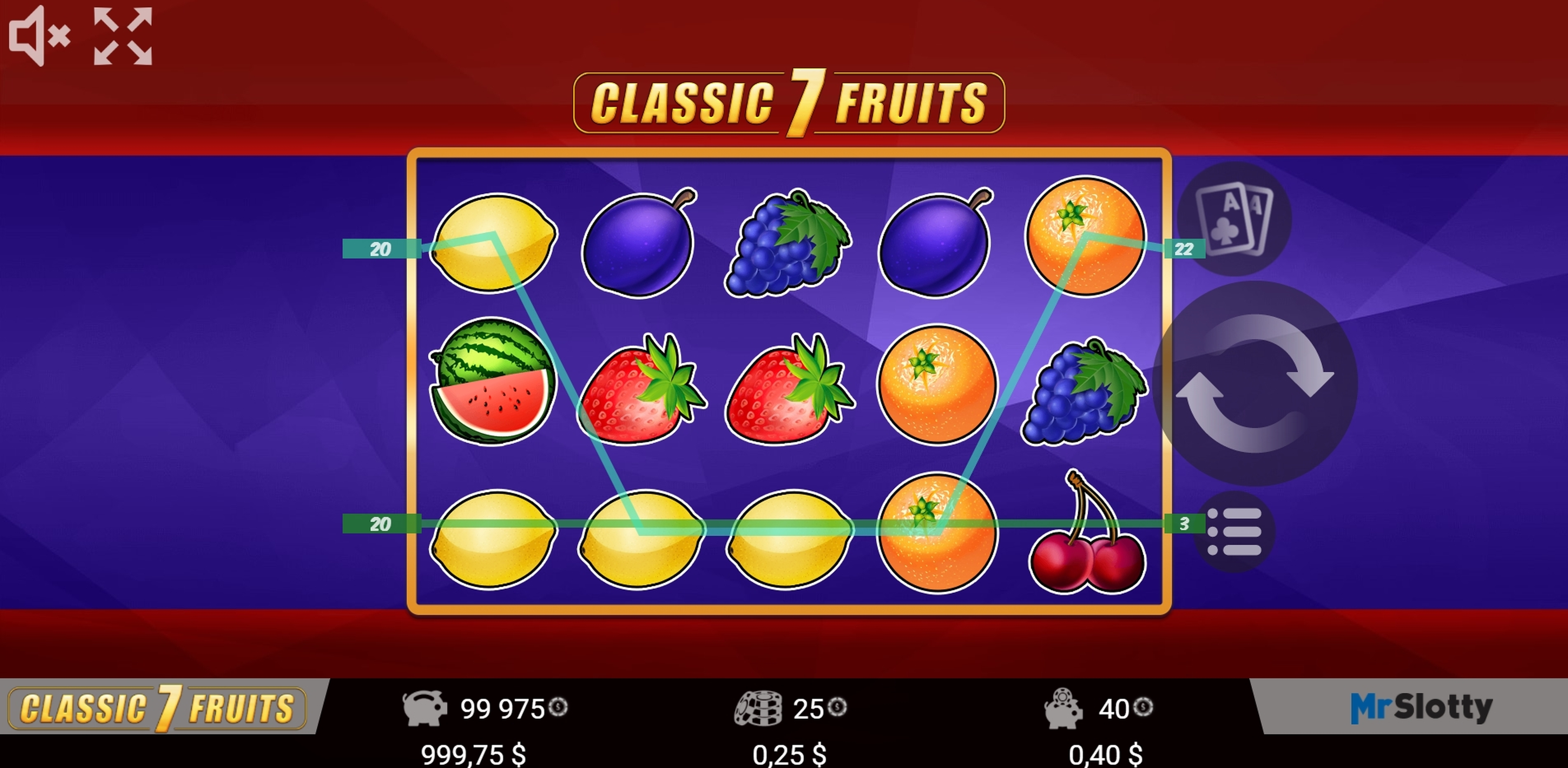 Win Money in Classic 7 Fruits Free Slot Game by Mr Slotty