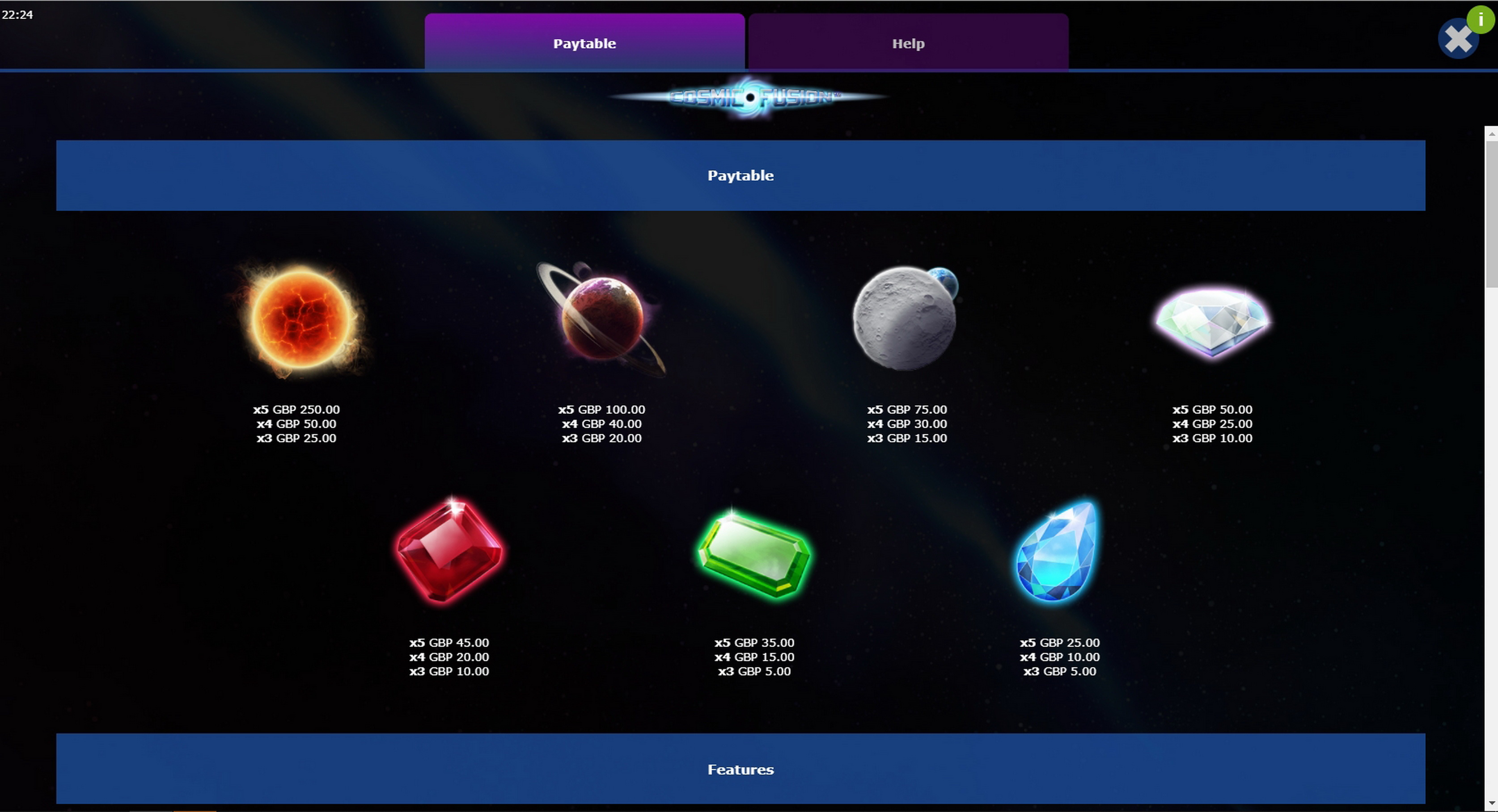 Info of Cosmic Fusion Slot Game by Mutuel Play