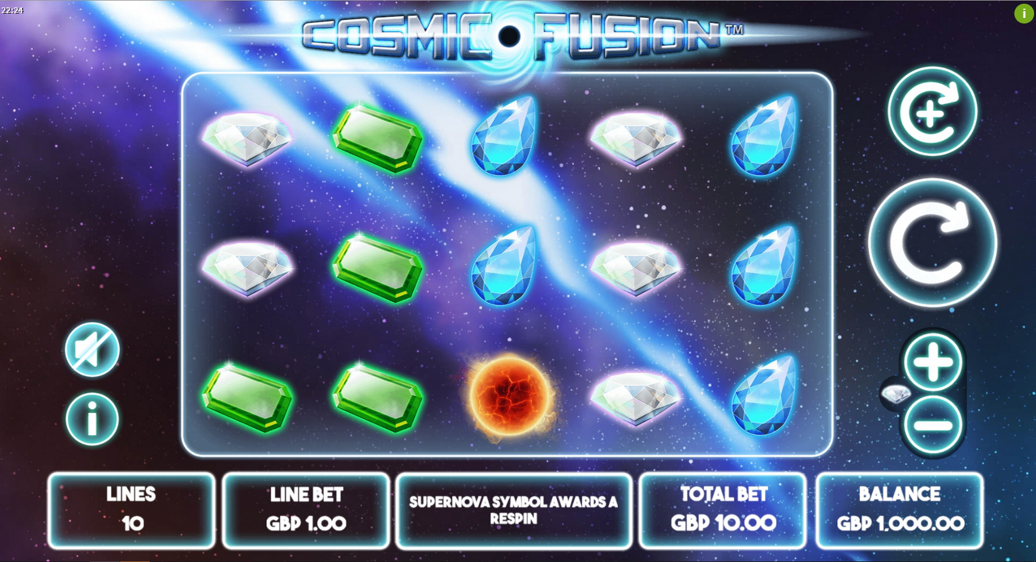 Reels in Cosmic Fusion Slot Game by Mutuel Play