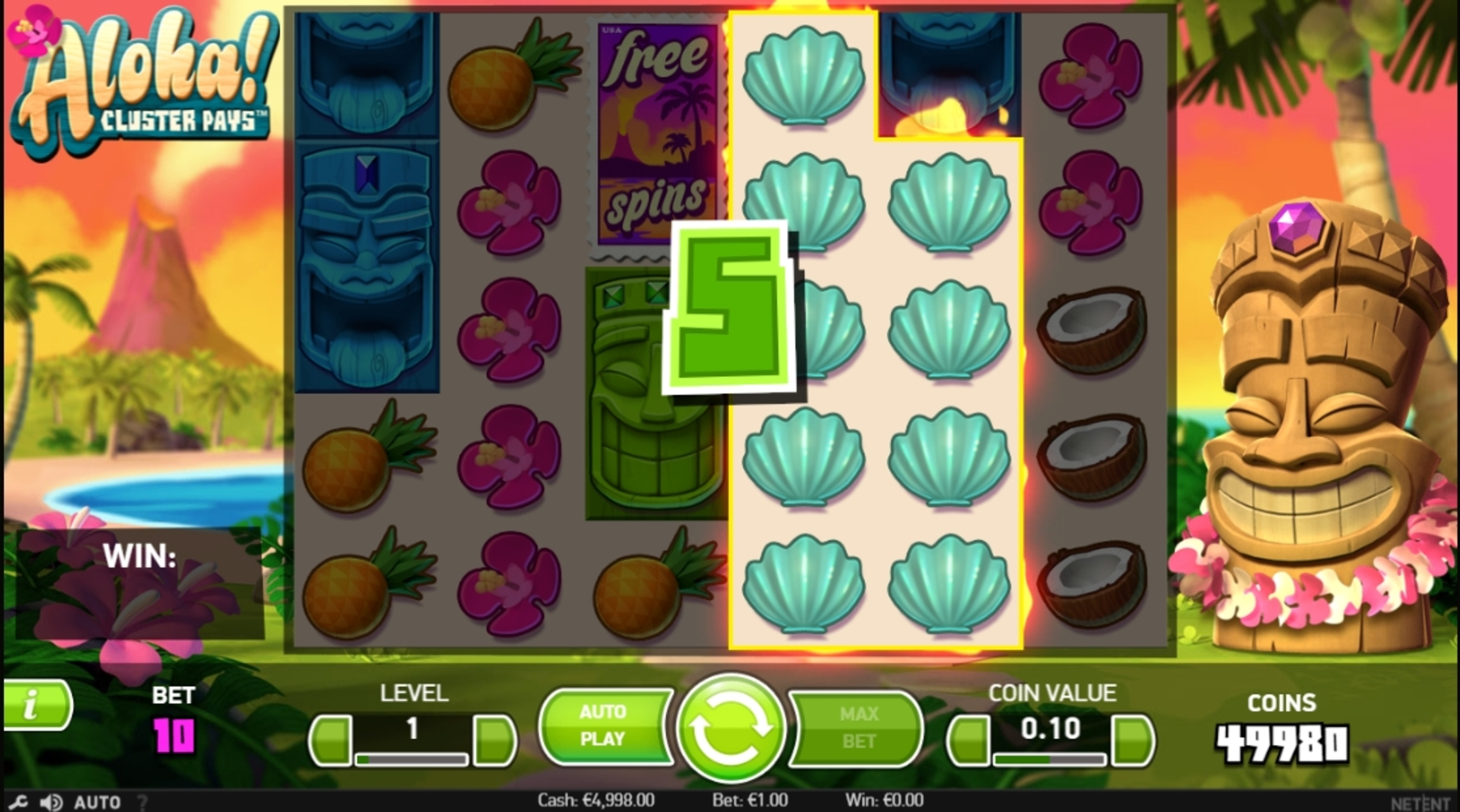 Win Money in Aloha! Cluster Pays Free Slot Game by NetEnt