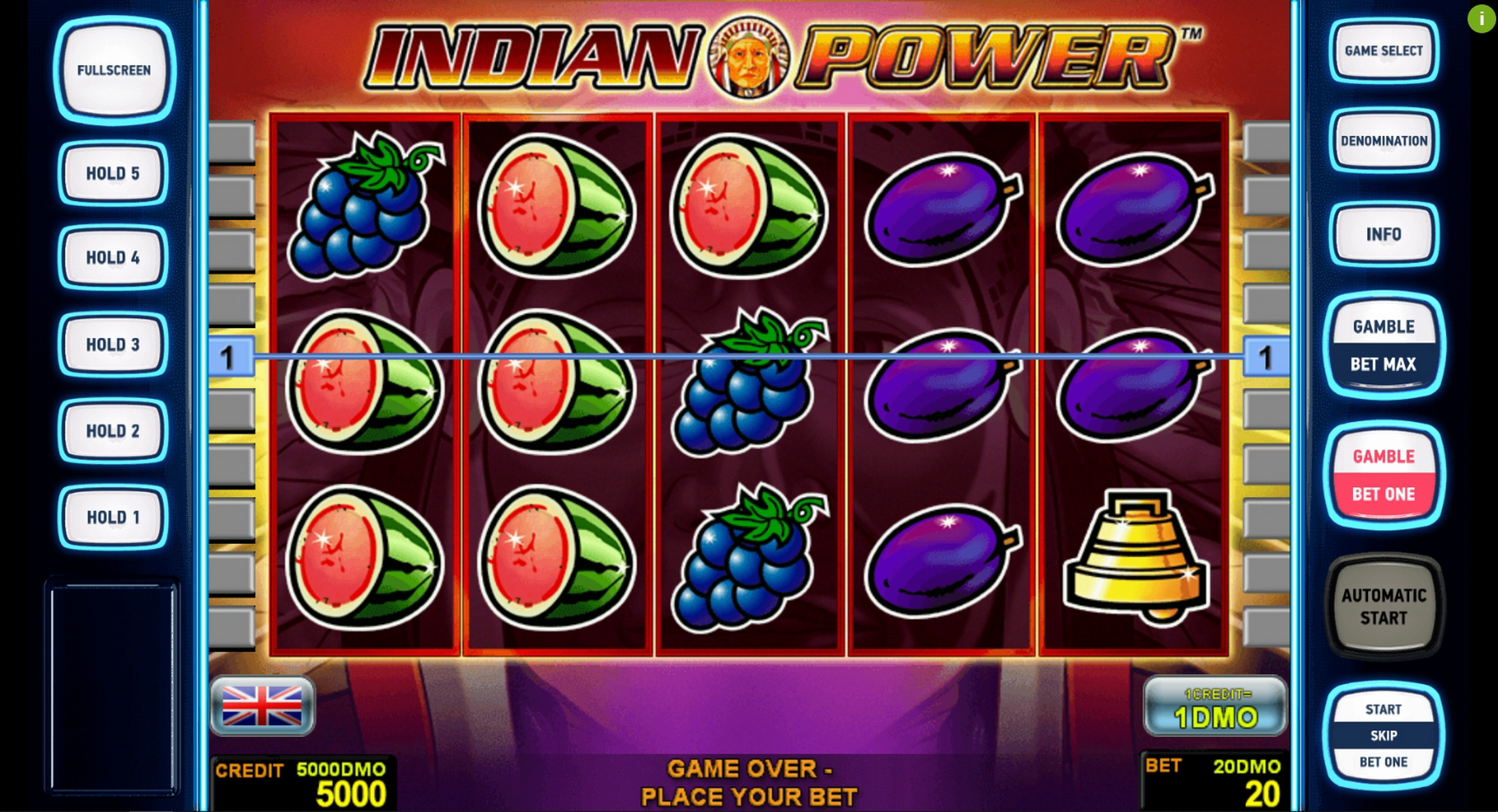 Reels in Indian Power Deluxe Slot Game by Novomatic
