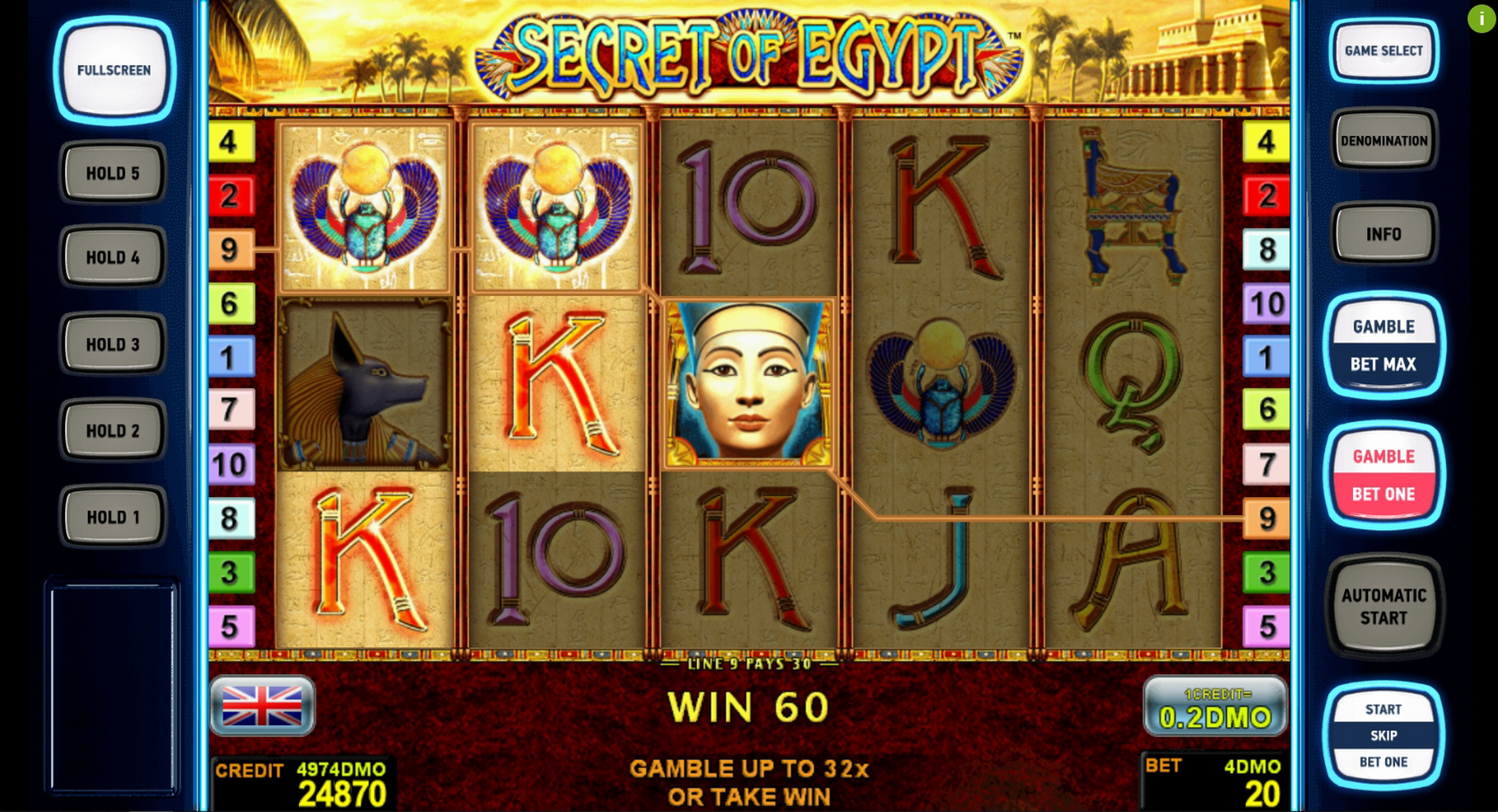 Win Money in Secret Of Egypt Deluxe Free Slot Game by Novomatic