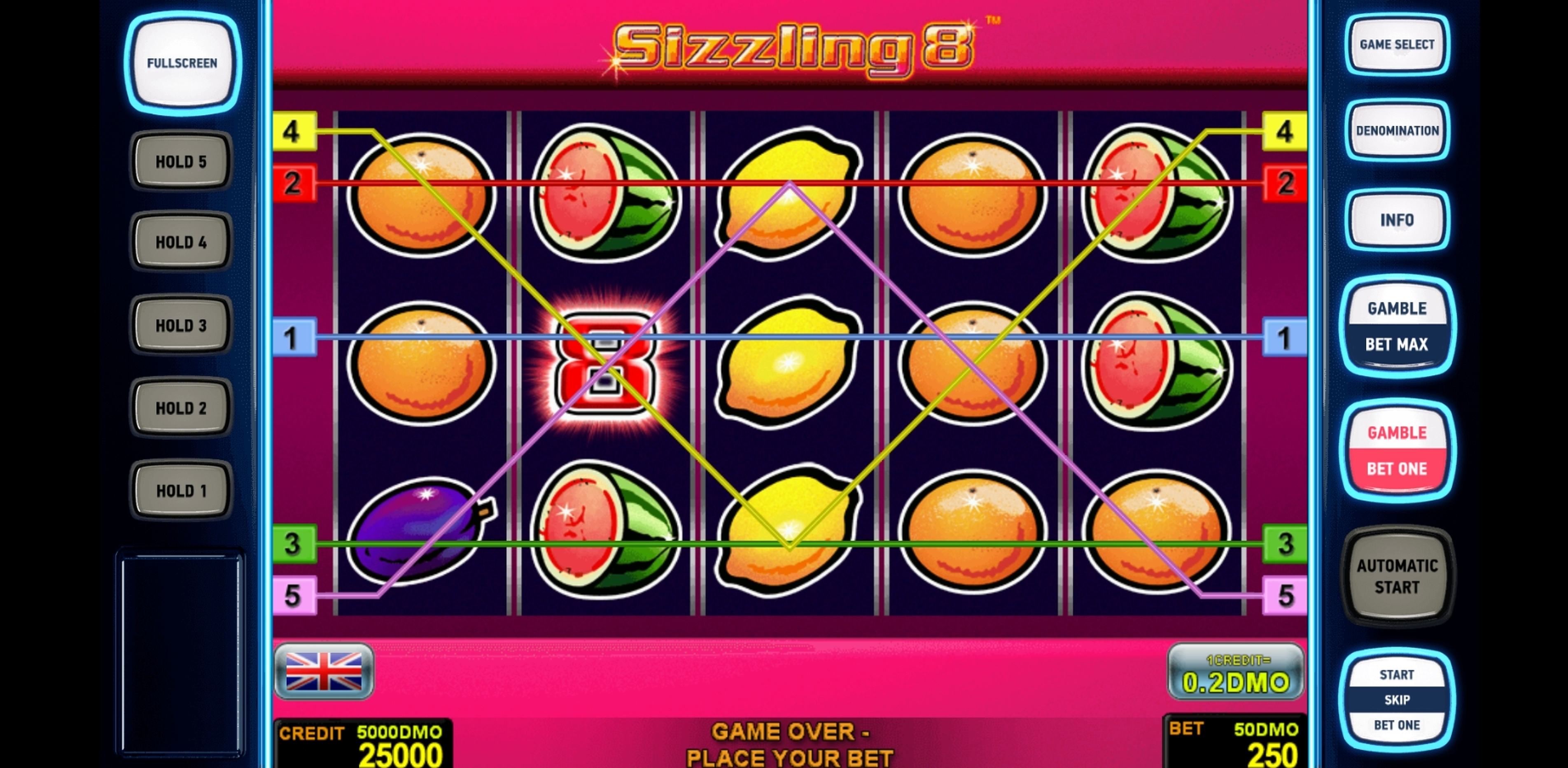 Reels in Sizzling 8 Deluxe Slot Game by Novomatic