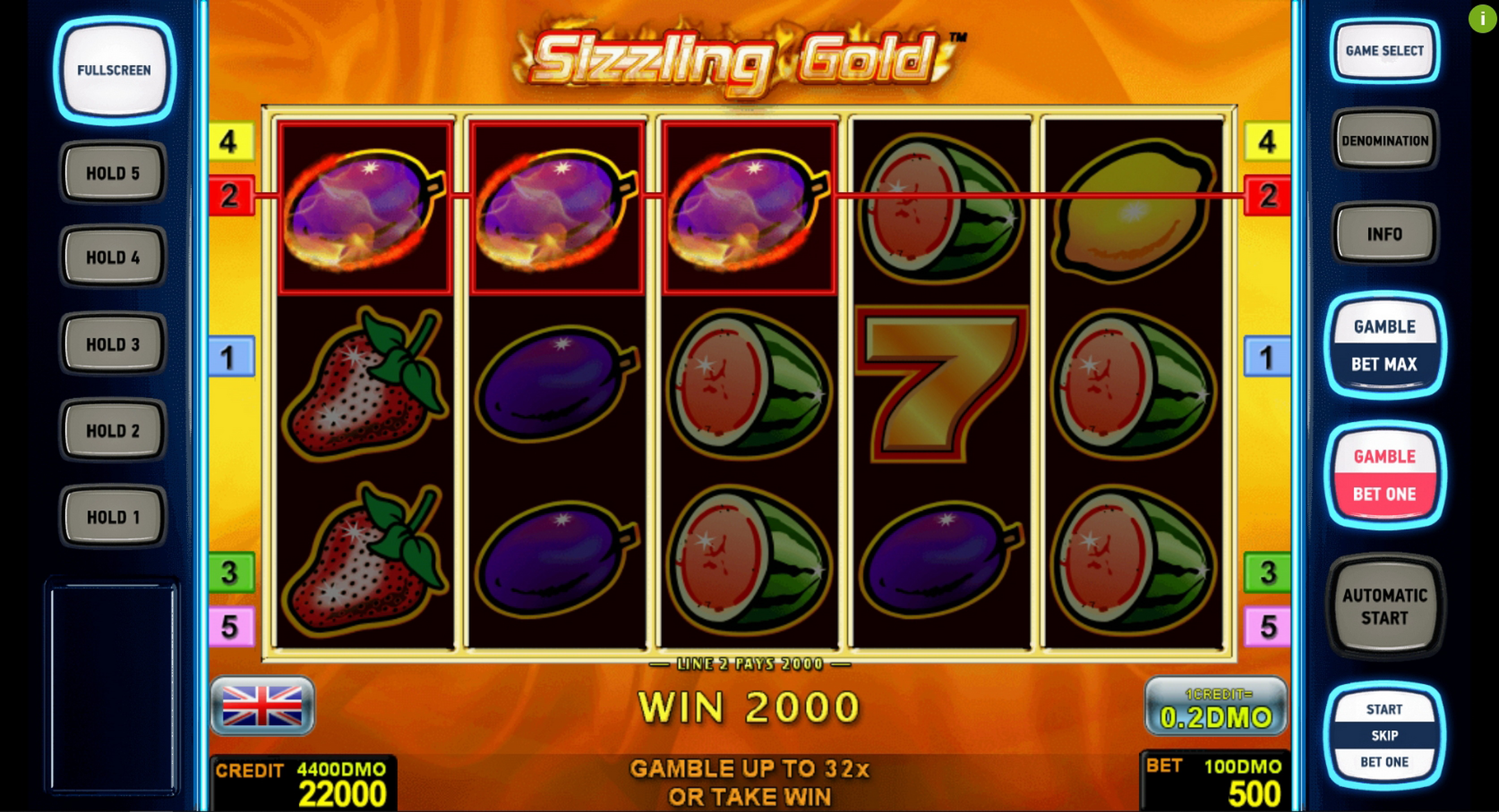 Win Money in Sizzling Gold Deluxe Free Slot Game by Novomatic