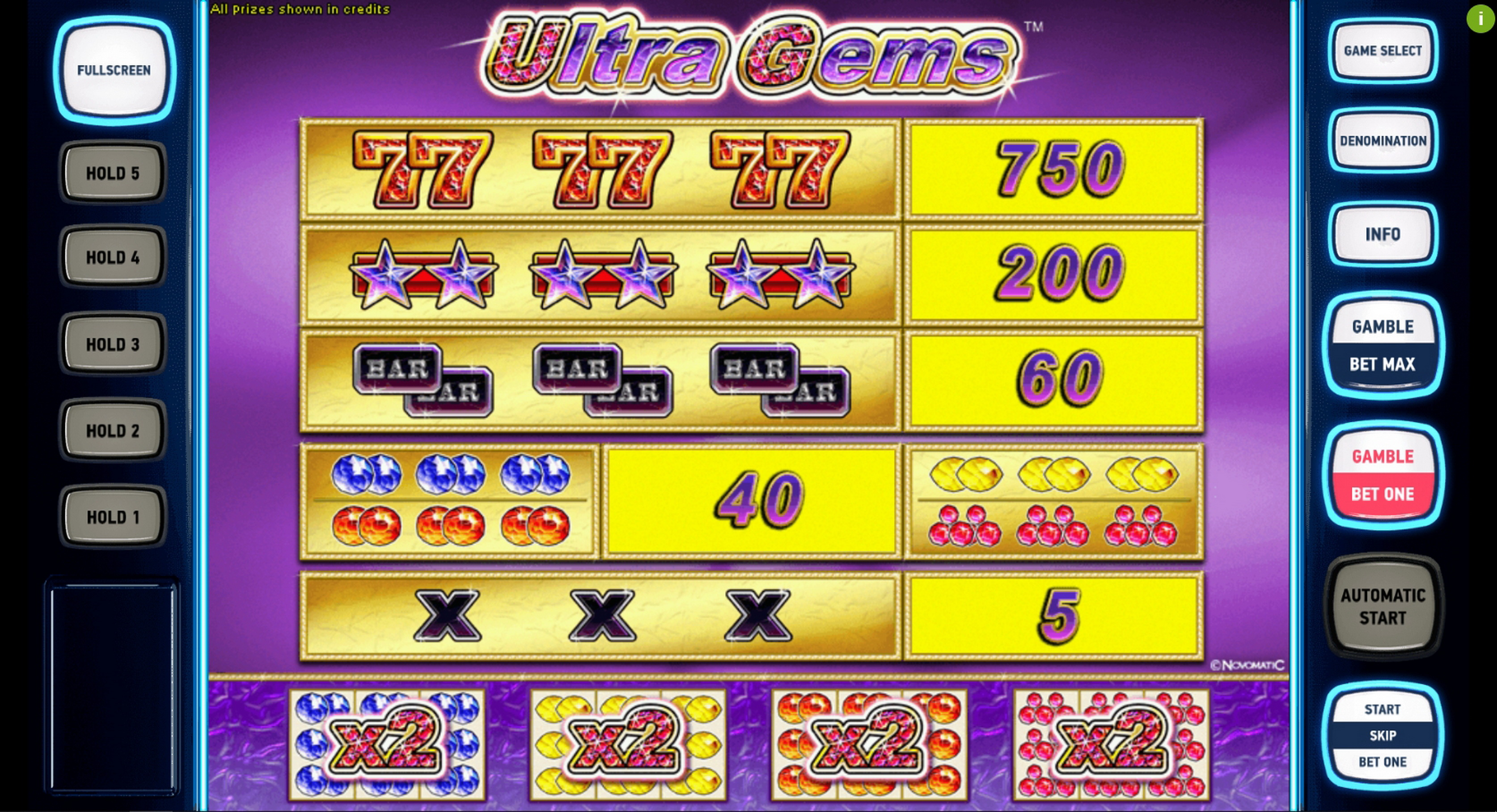 Info of Ultra Gems Deluxe Slot Game by Novomatic