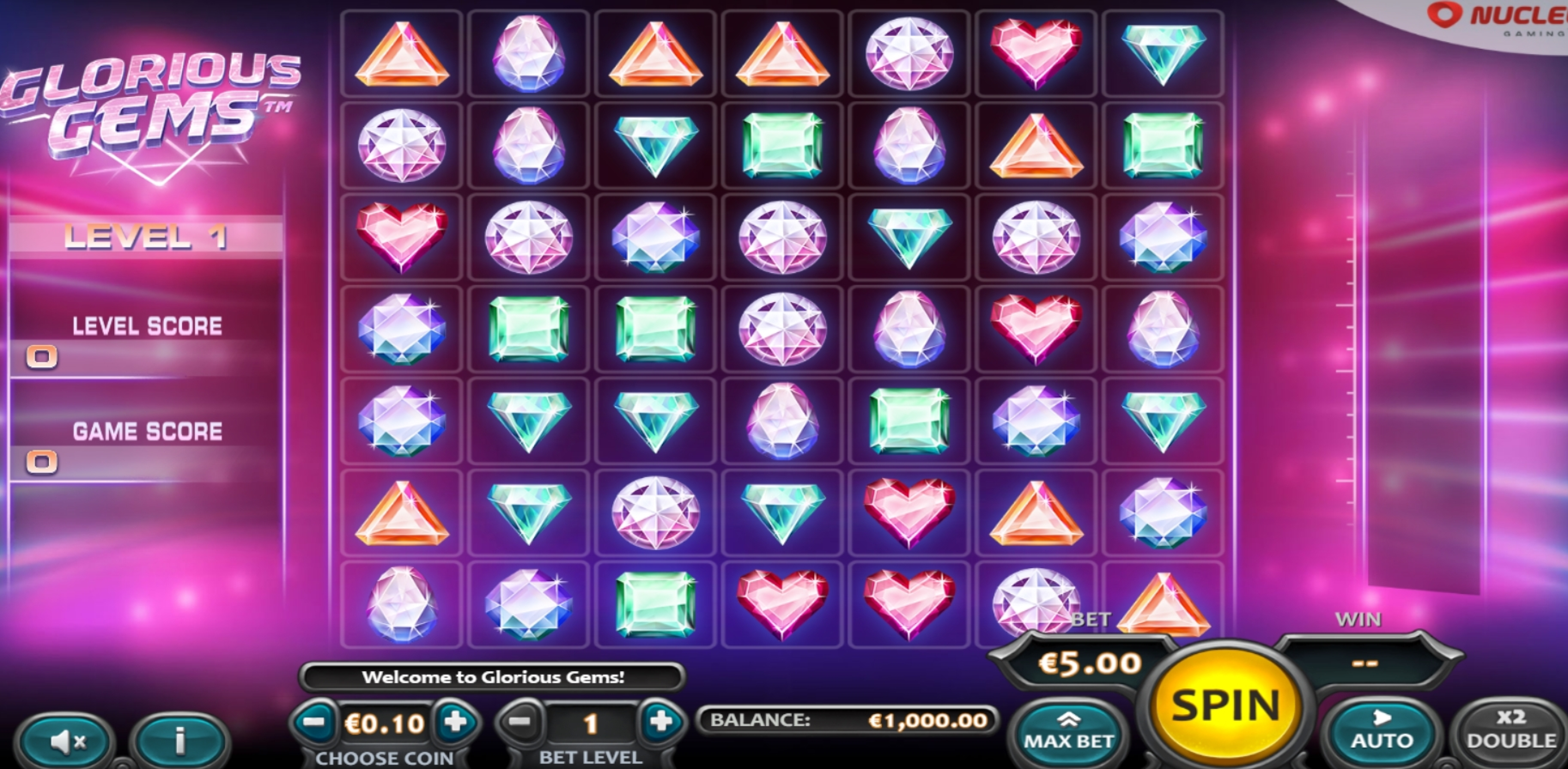 Reels in Glorious Gems Slot Game by Nucleus Gaming