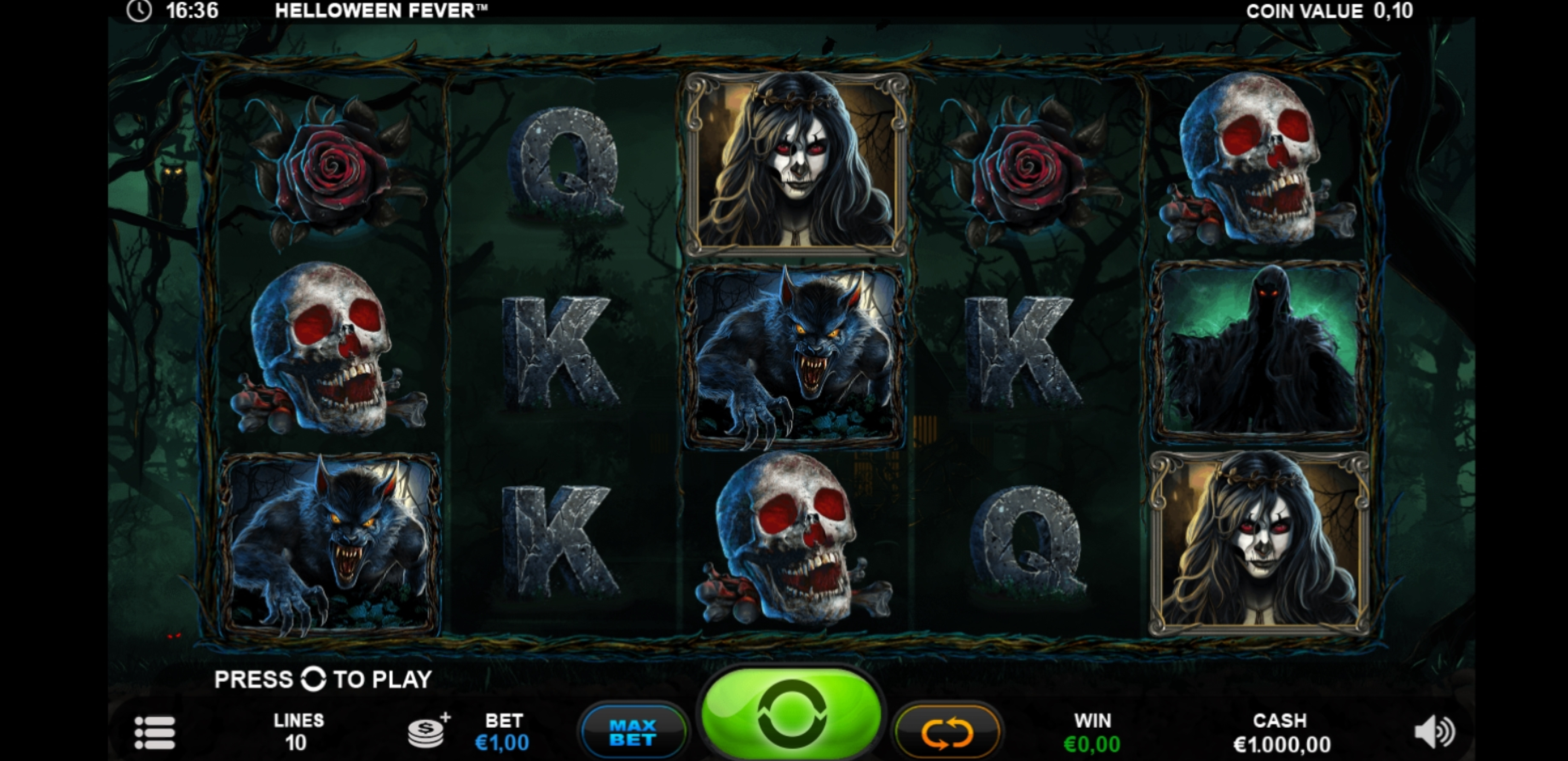 Reels in Helloween Fever Slot Game by Plank Gaming