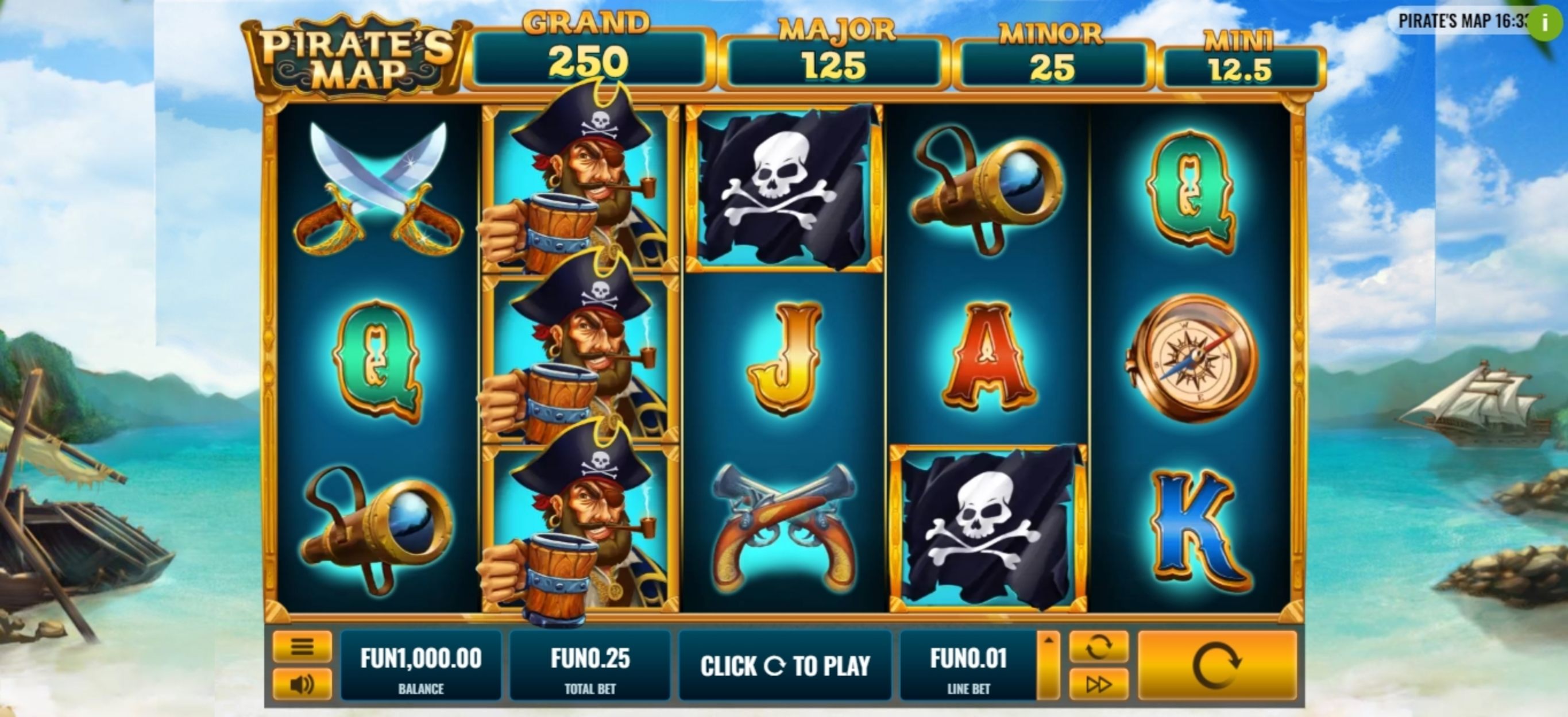 Reels in Pirate's Map Slot Game by Platipus