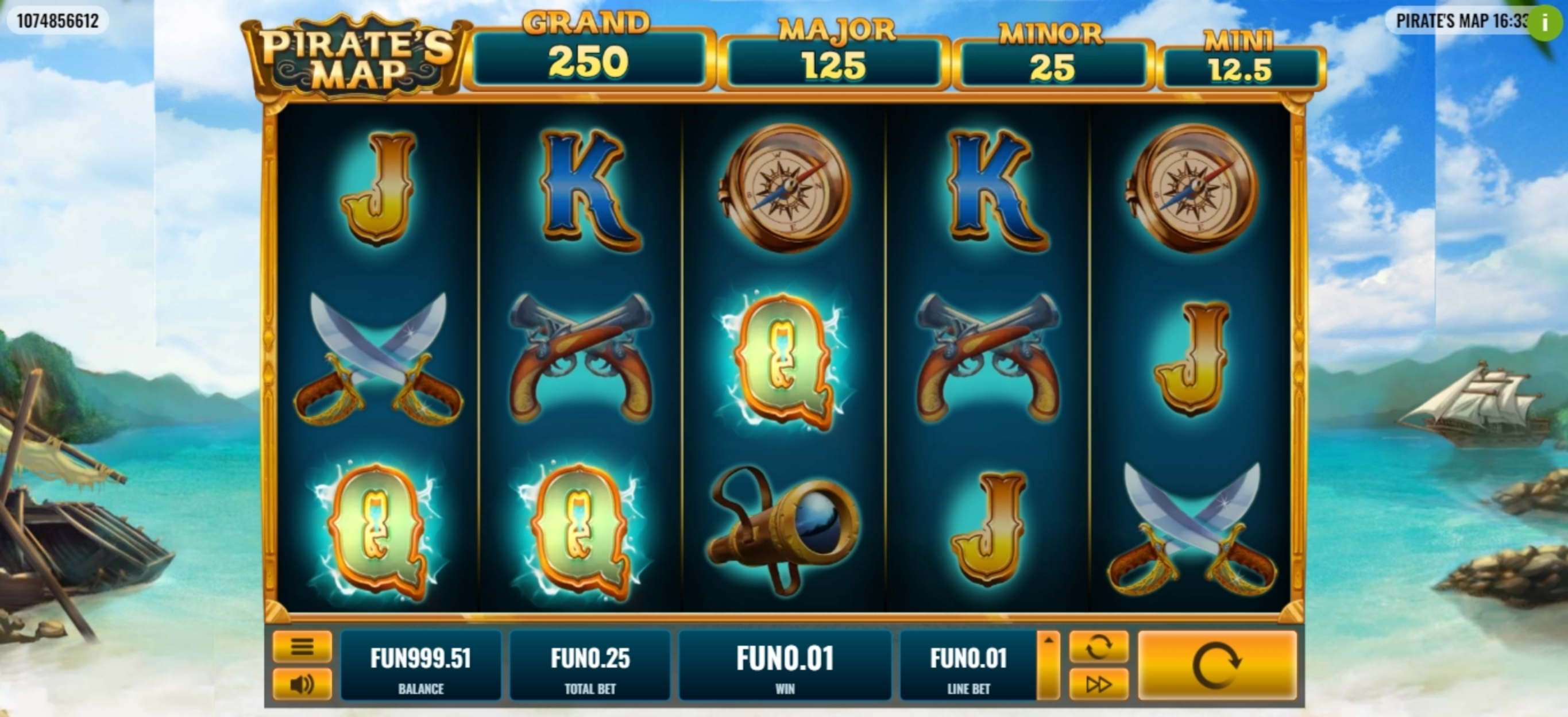 Win Money in Pirate's Map Free Slot Game by Platipus