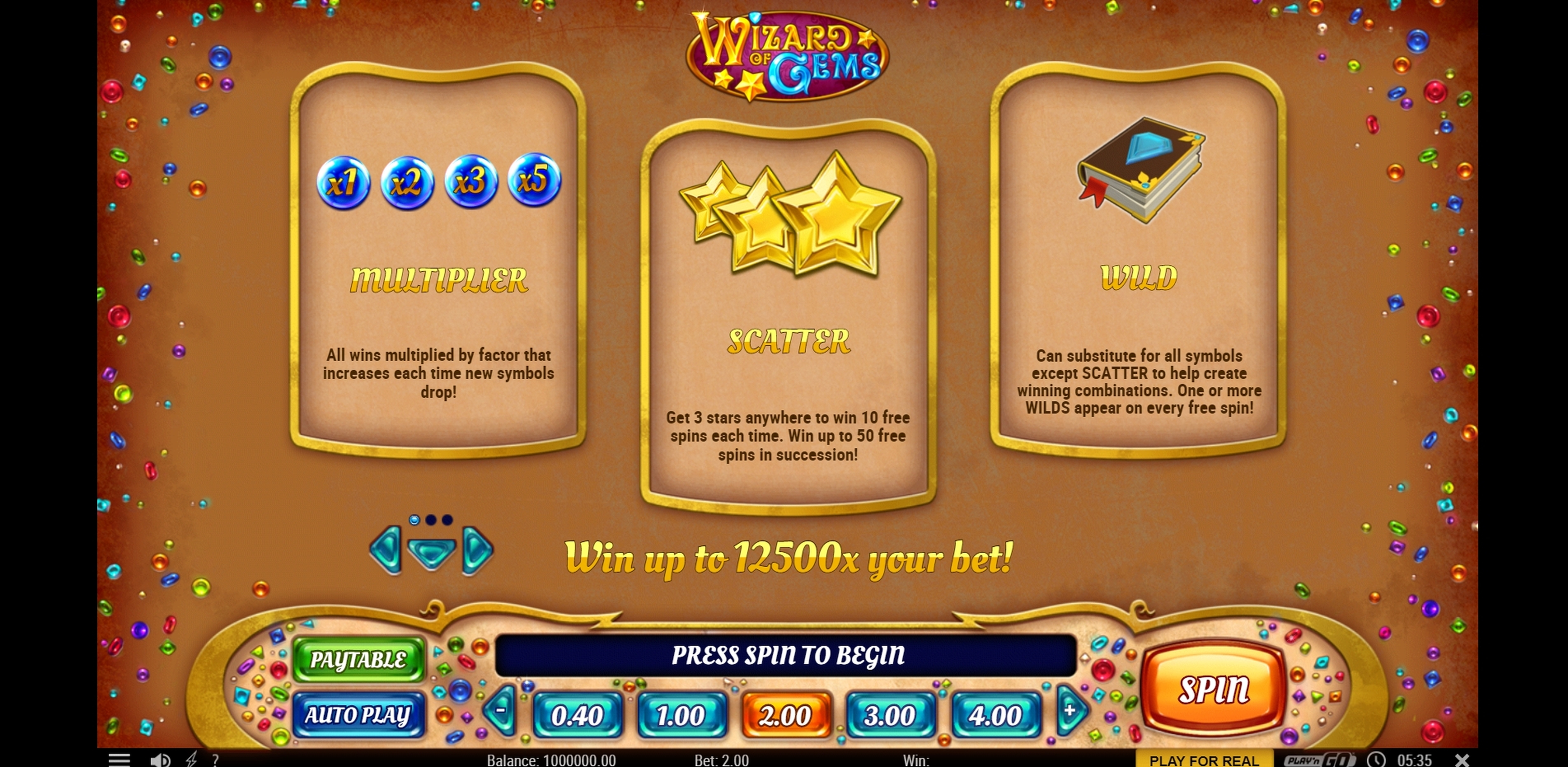 Info of Wizard of Gems Slot Game by Playn GO