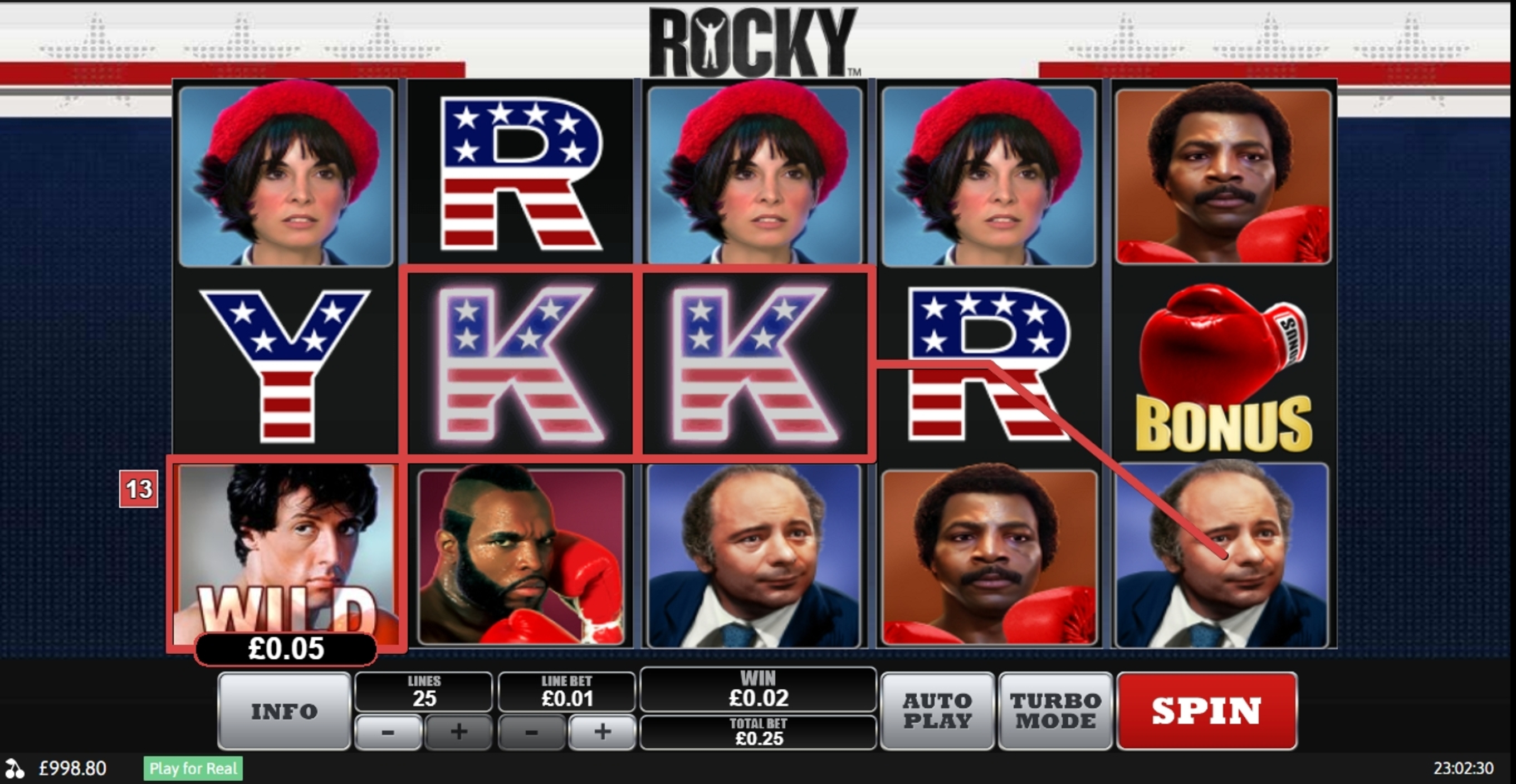Win Money in Rocky Free Slot Game by Playtech