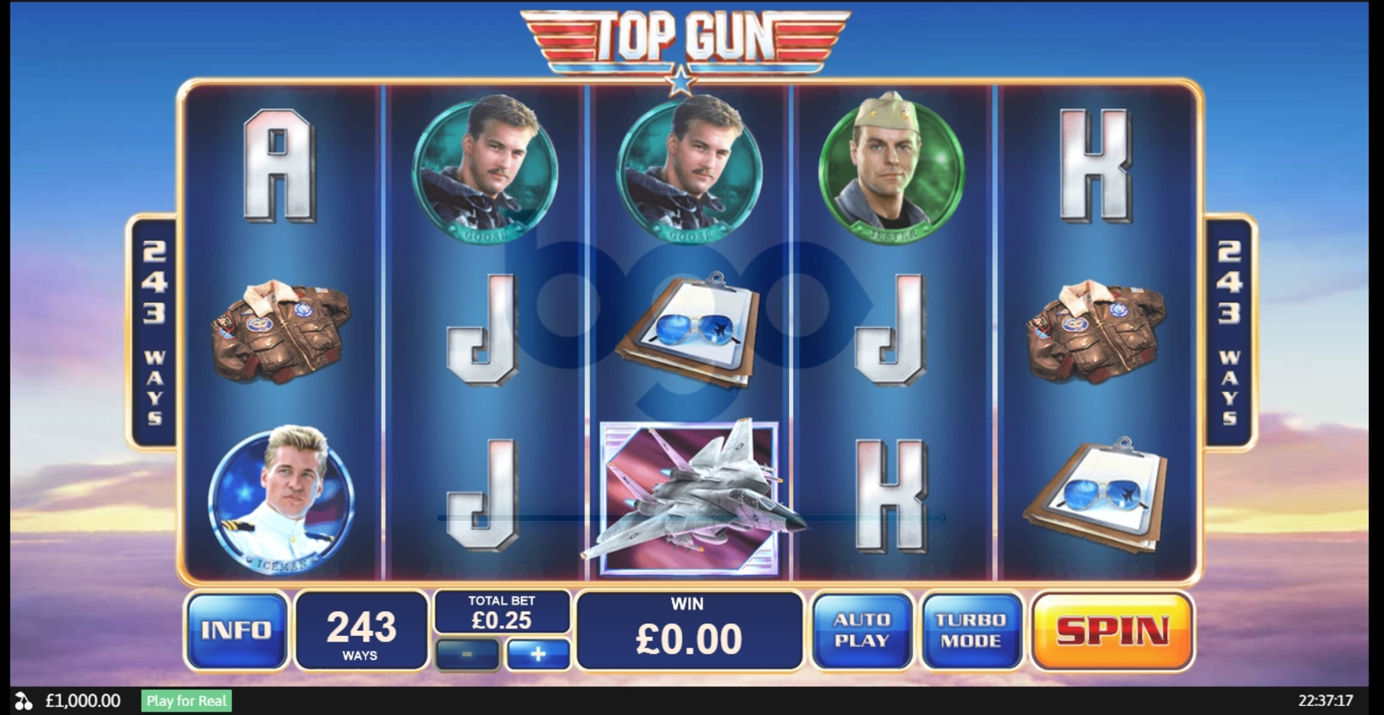 Reels in Top Gun Slot Game by Playtech