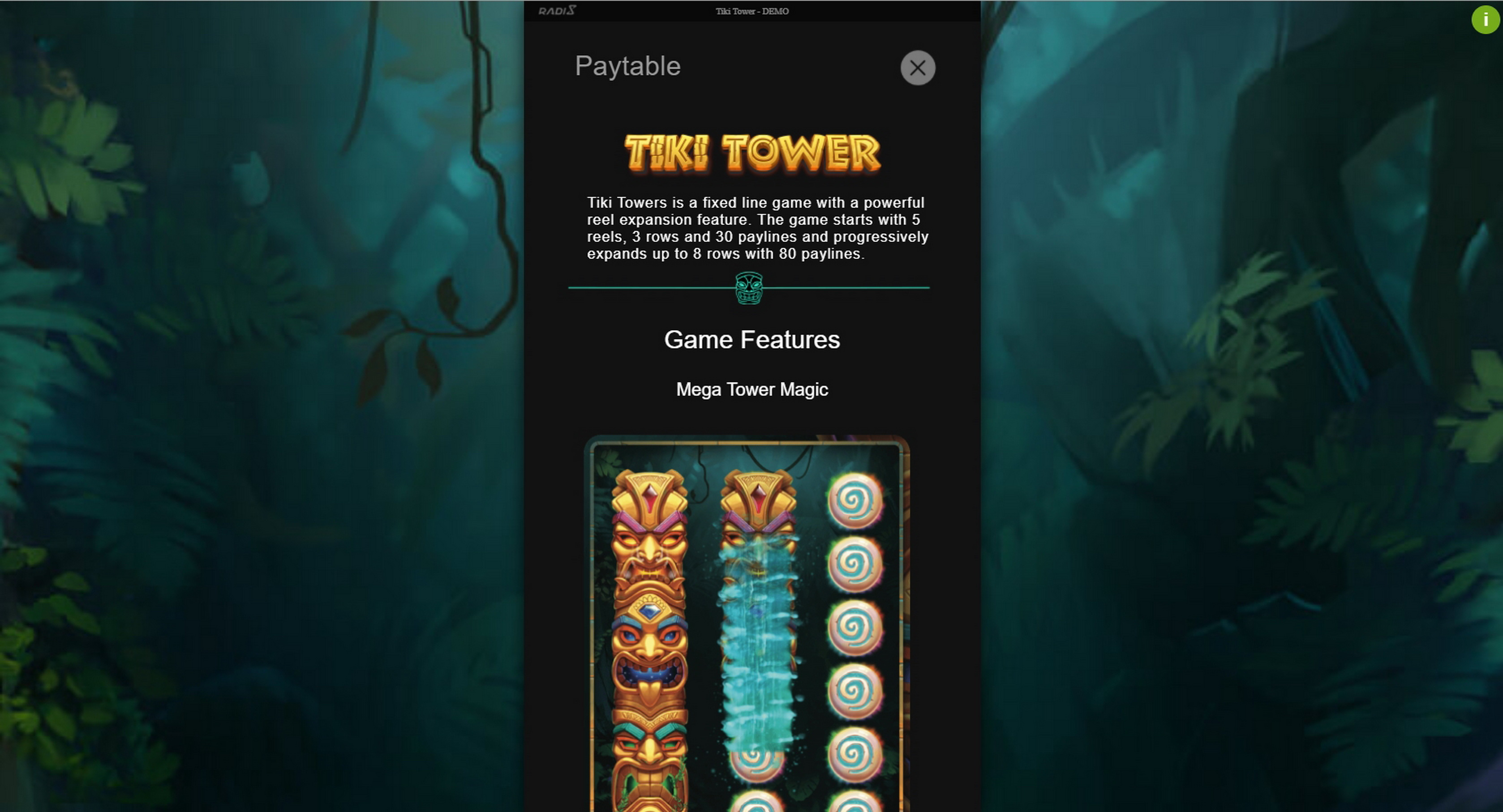 Info of Tiki Tower Slot Game by Radi8
