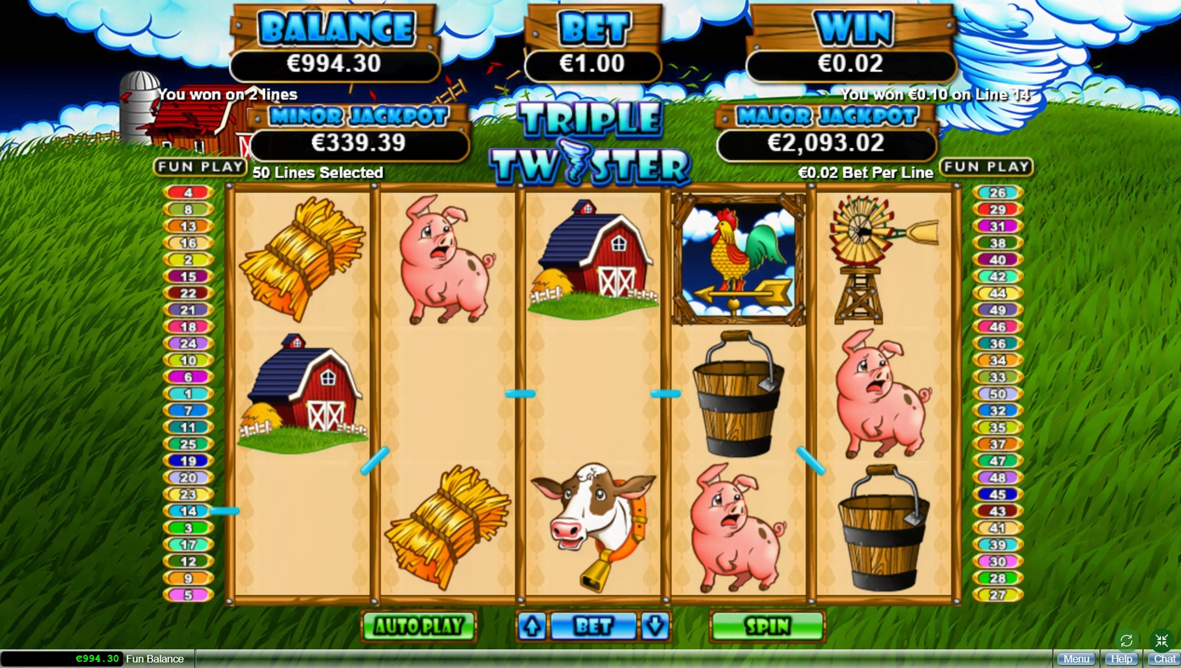 Win Money in Triple Twister Free Slot Game by Real Time Gaming