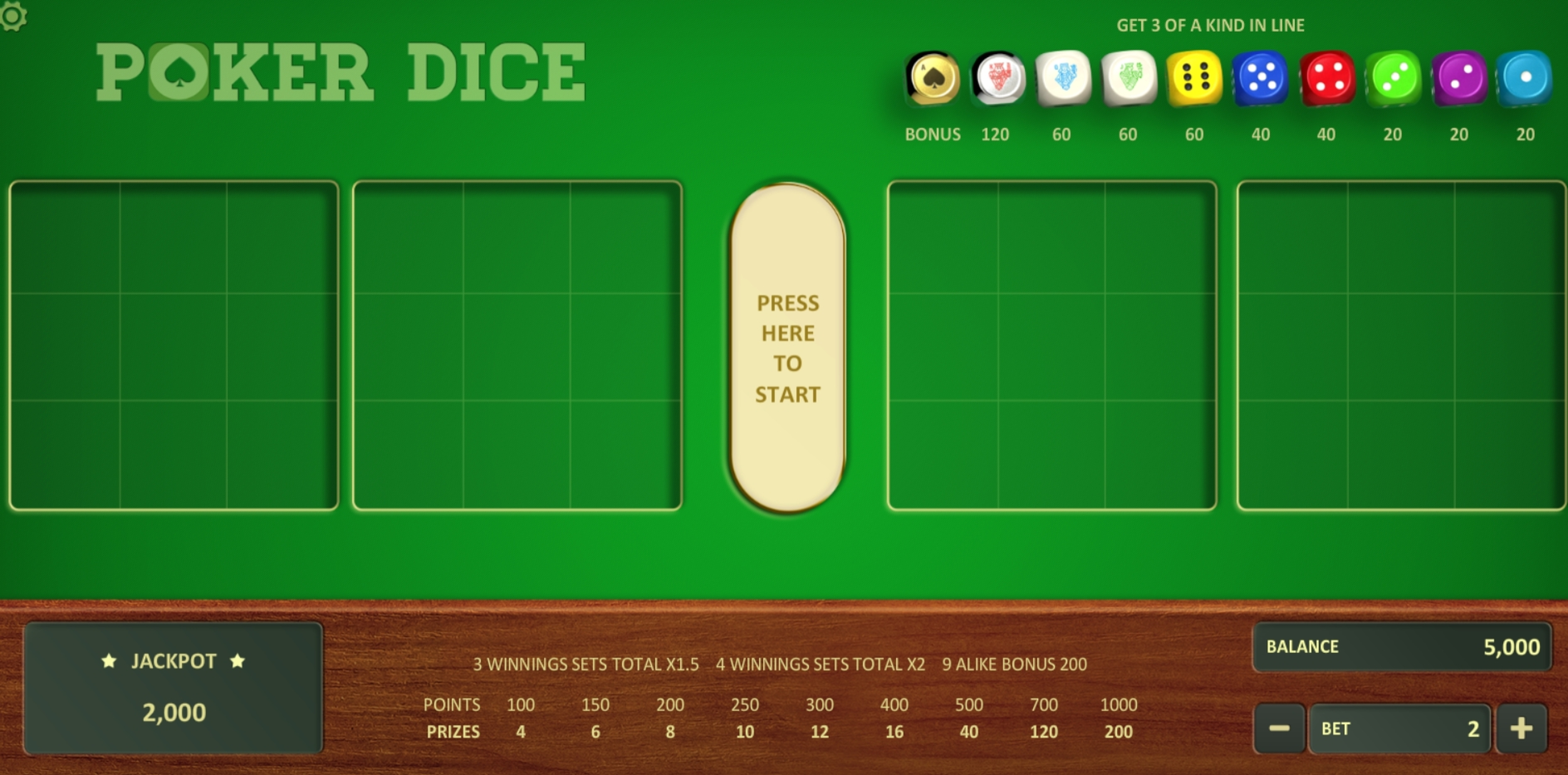 Reels in Poker Dice (Relax Gaming) Slot Game by Relax Gaming